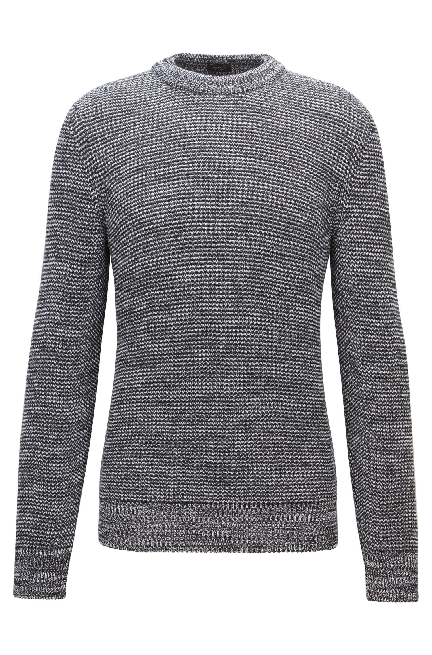 Structured mouliné-cotton sweater with feature collar
