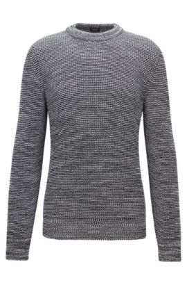 Structured mouliné-cotton sweater with feature collar, Grey