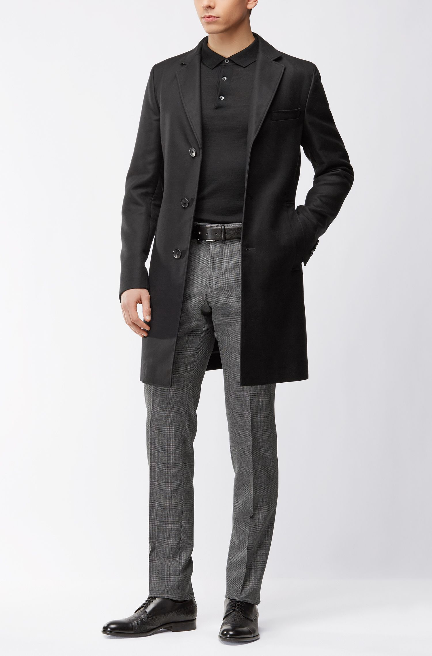 Slim-Fit Longsleeve Poloshirt aus Schurwolle