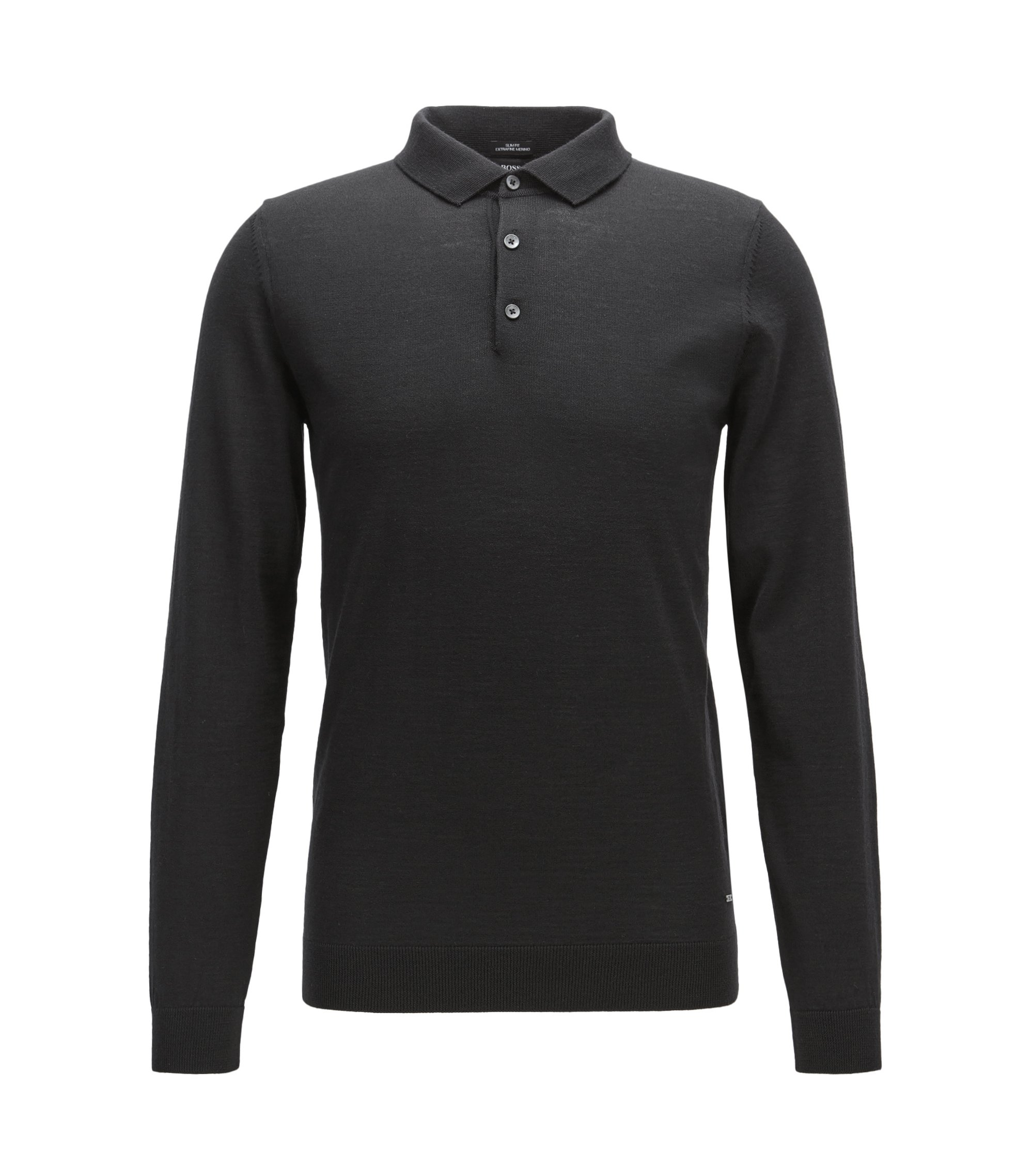 Slim-fit polo shirt in merino wool, Black