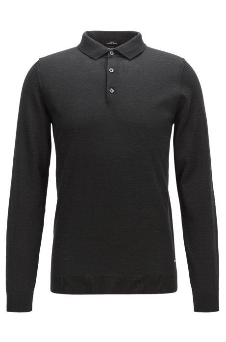 Slim-fit polo shirt in merino wool