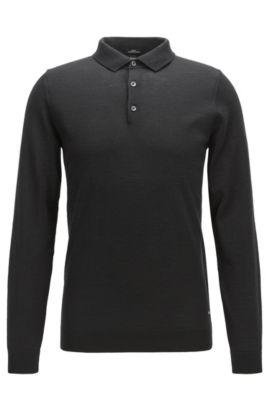 Slim-Fit Longsleeve Poloshirt aus Schurwolle, Schwarz