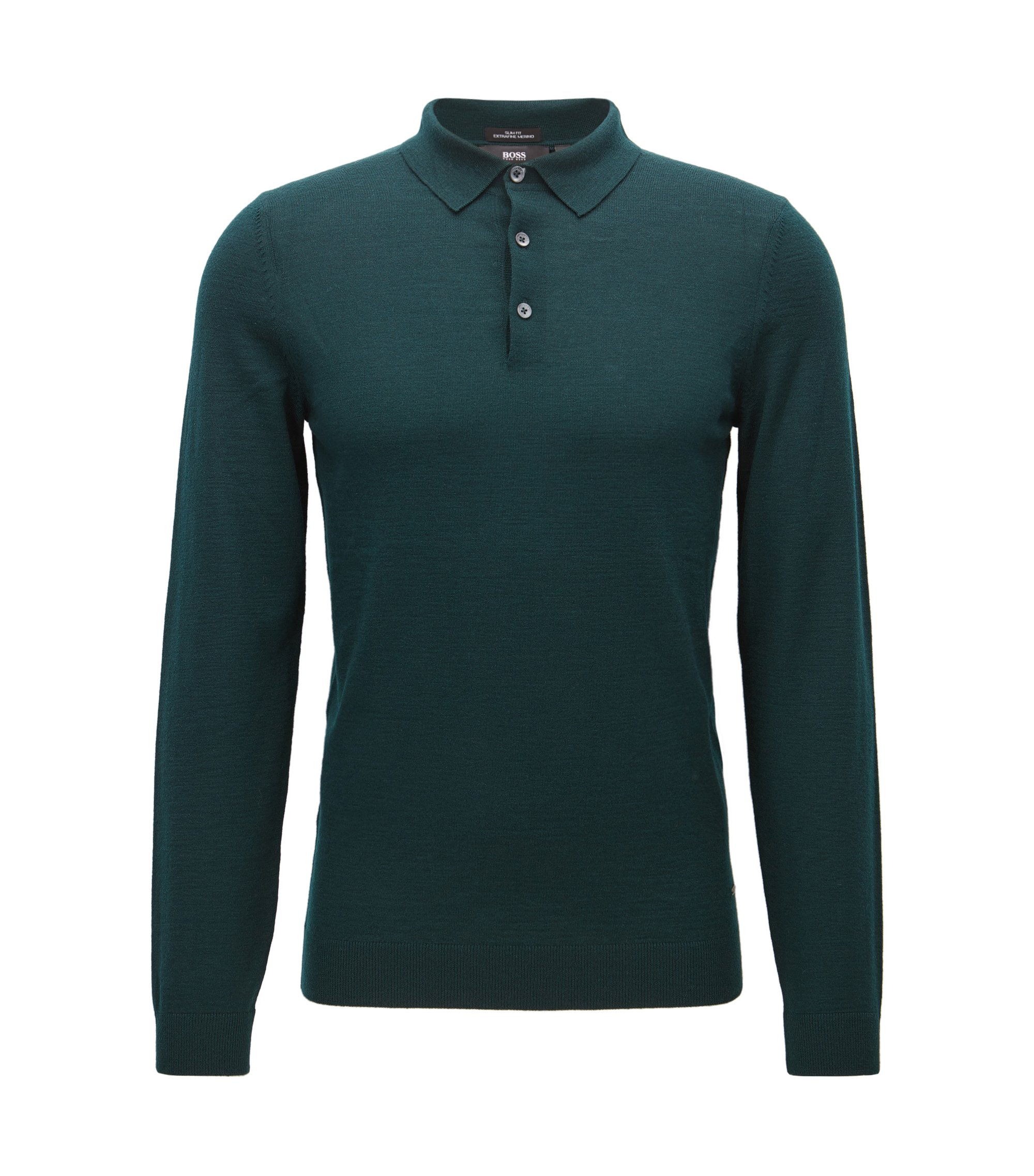Slim-fit polo shirt in merino wool, Dark Green