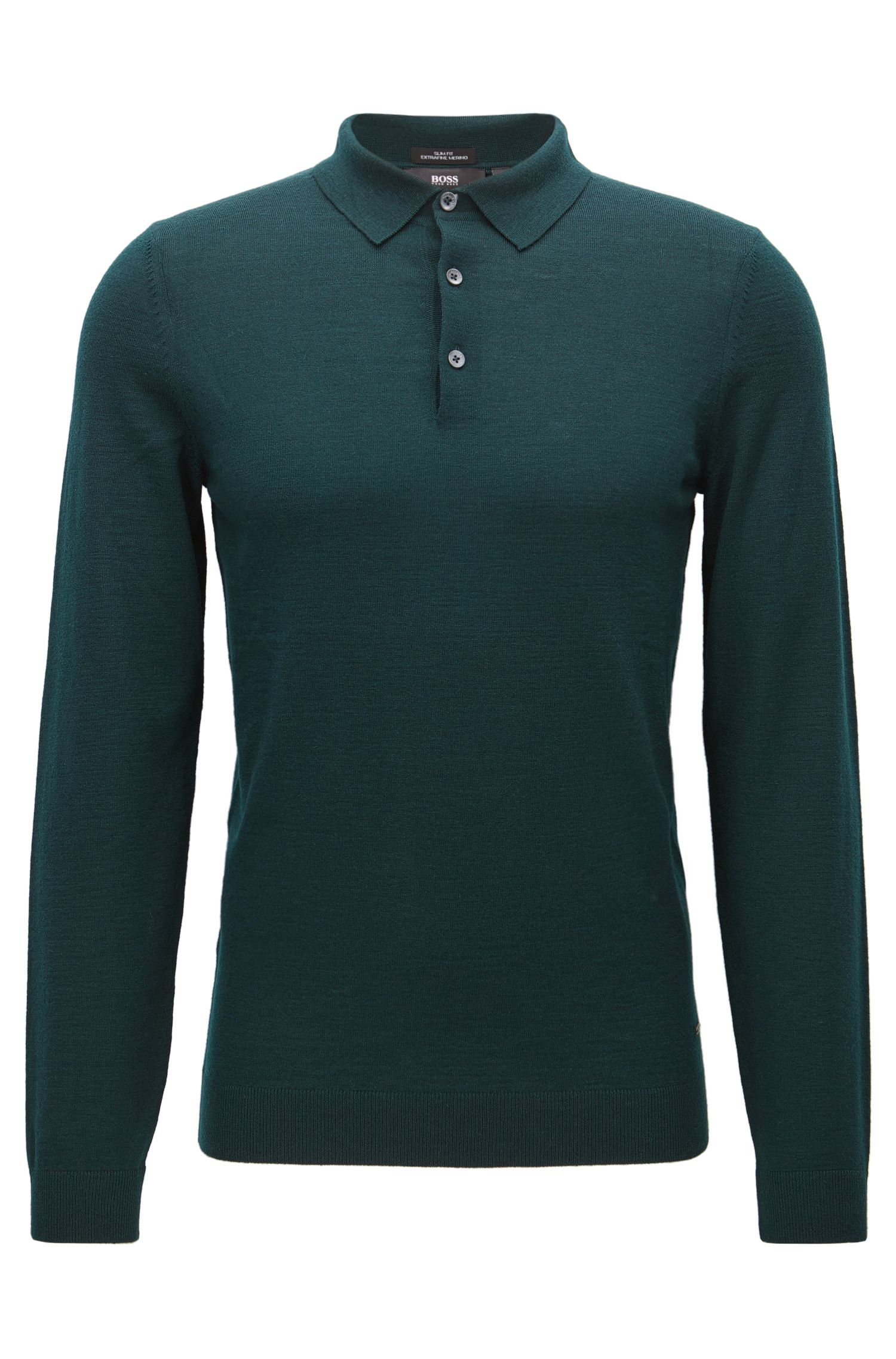 Polo slim fit in lana merino