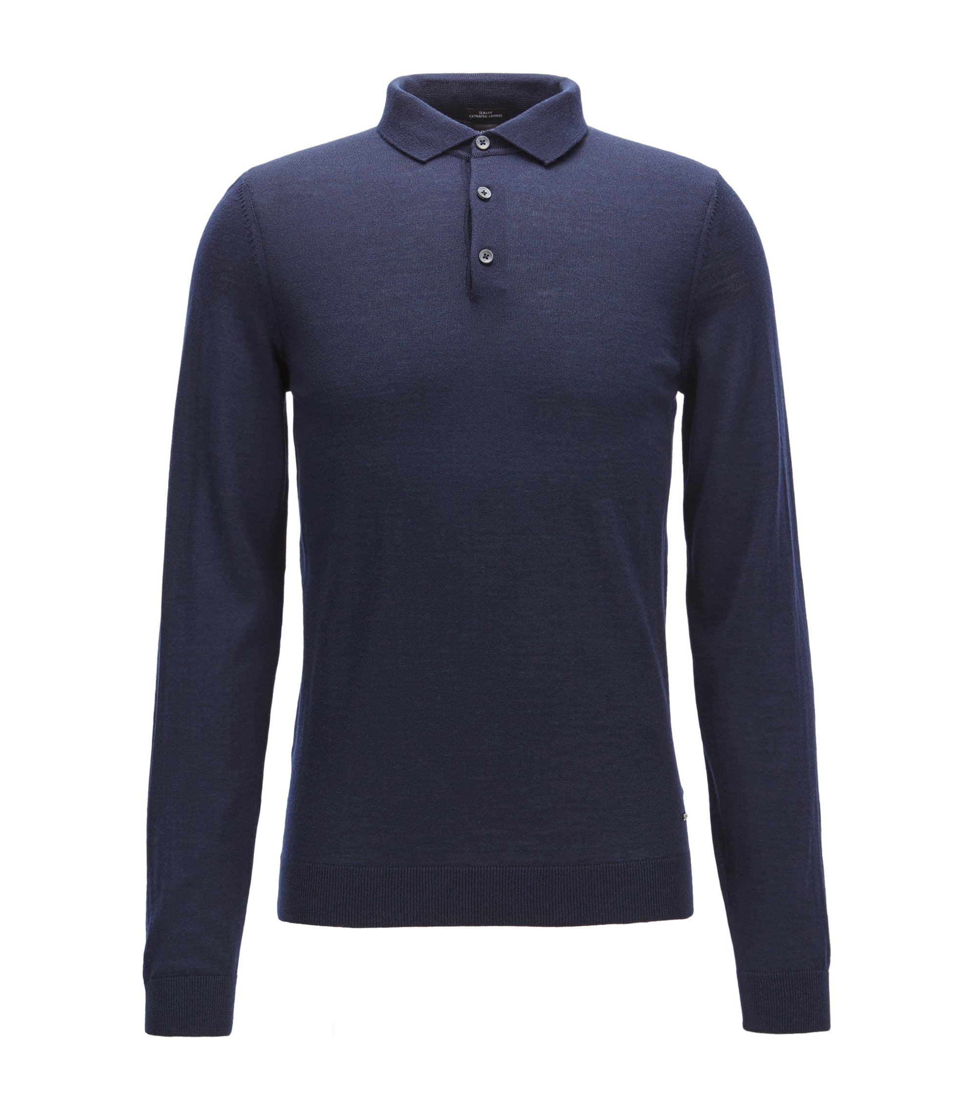 Slim-fit polo shirt in merino wool, Dark Blue