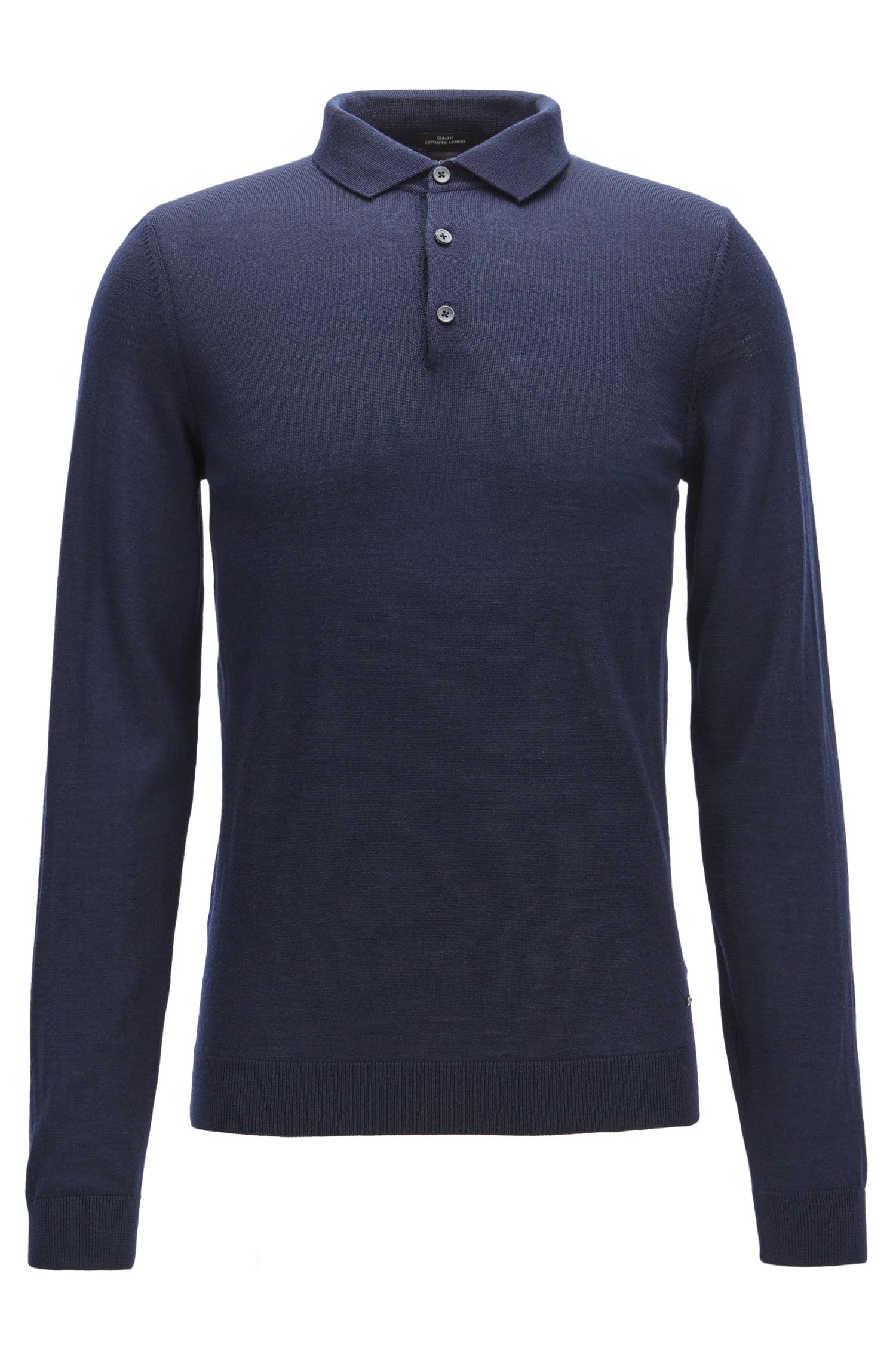 Slim-fit polo shirt in merino wool
