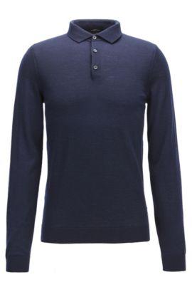 Polo slim fit in lana merino, Blu scuro