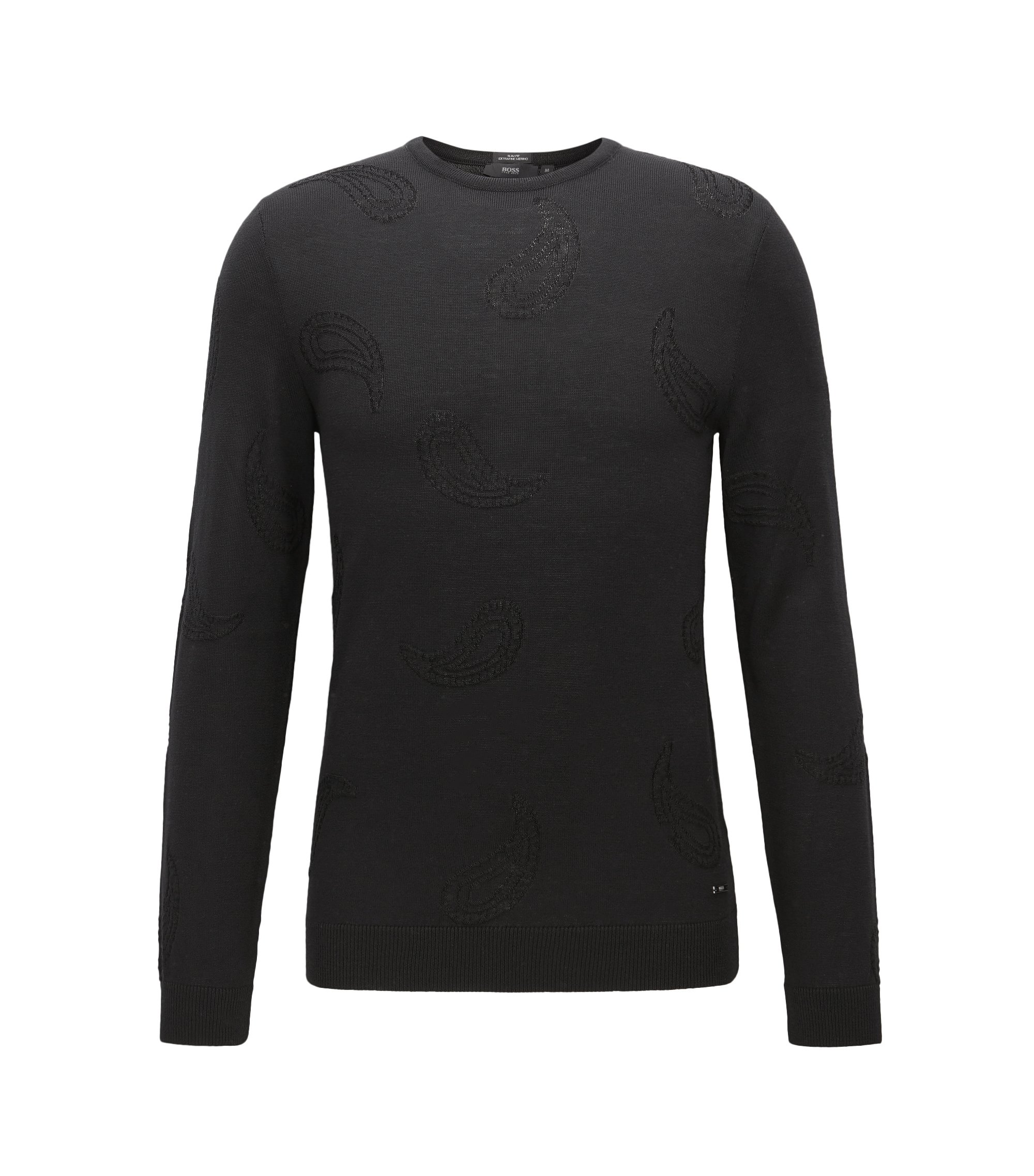 Paisley embroidered crew-neck sweater in a wool blend, Black