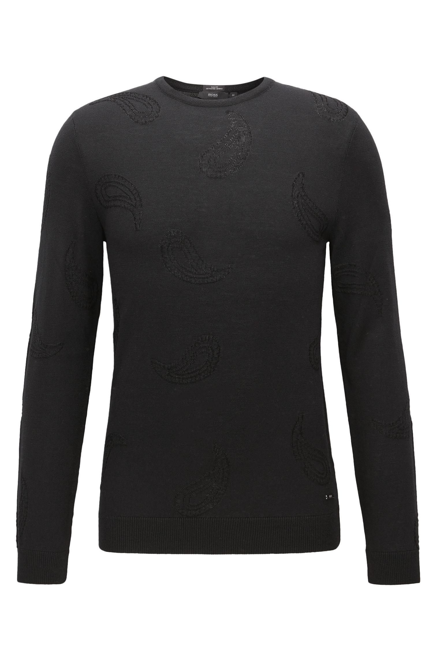 Maglione a girocollo in misto lana con motivo Paisley ricamato