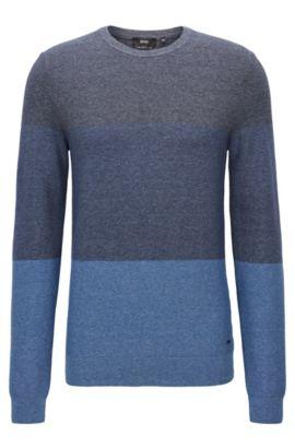 Maglione a blocchi di colore in cotone strutturato, Blu