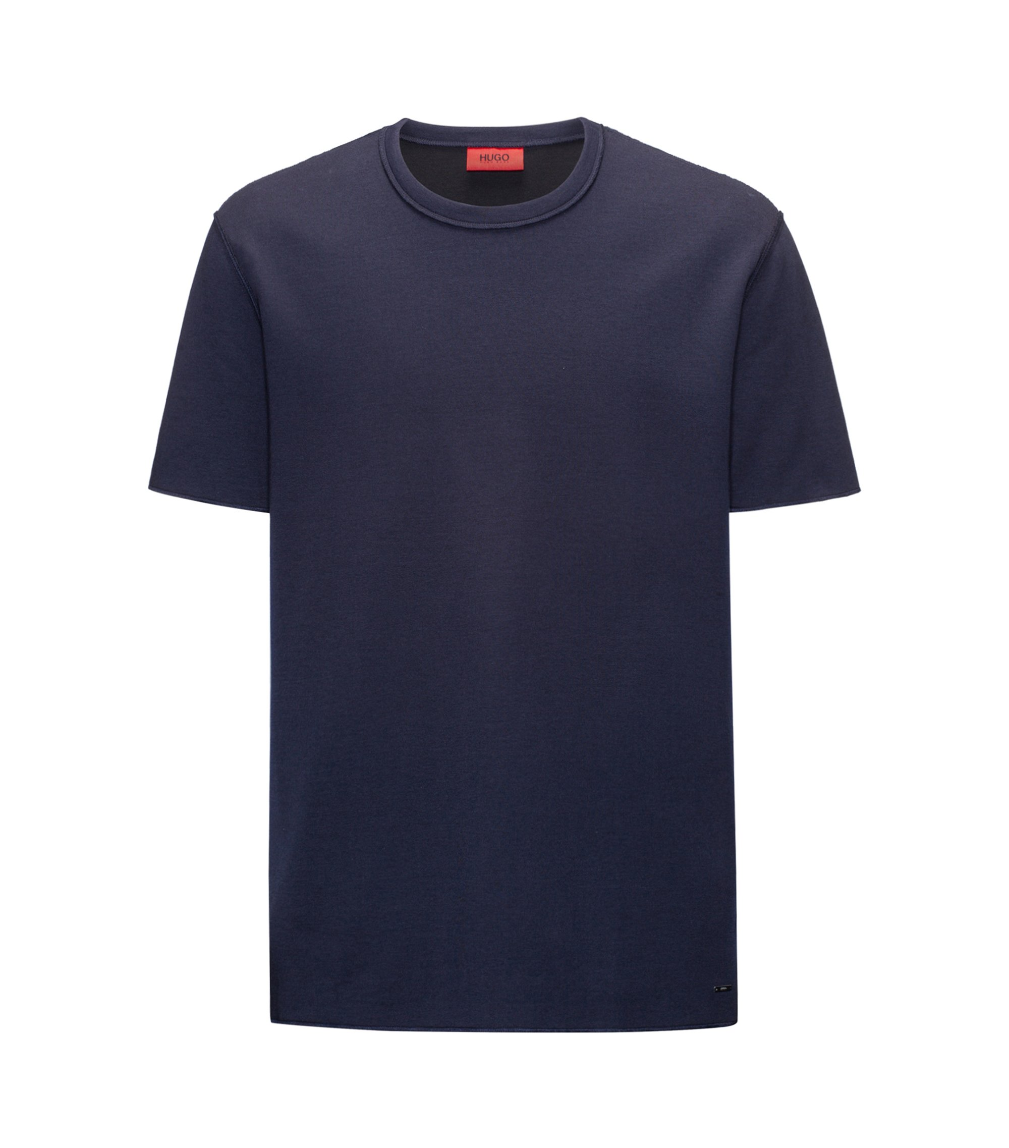 Relaxed-fit T-shirt in a double-face cotton blend, Dark Blue