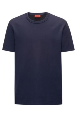 T-shirt relaxed fit in misto cotone double-face, Blu scuro