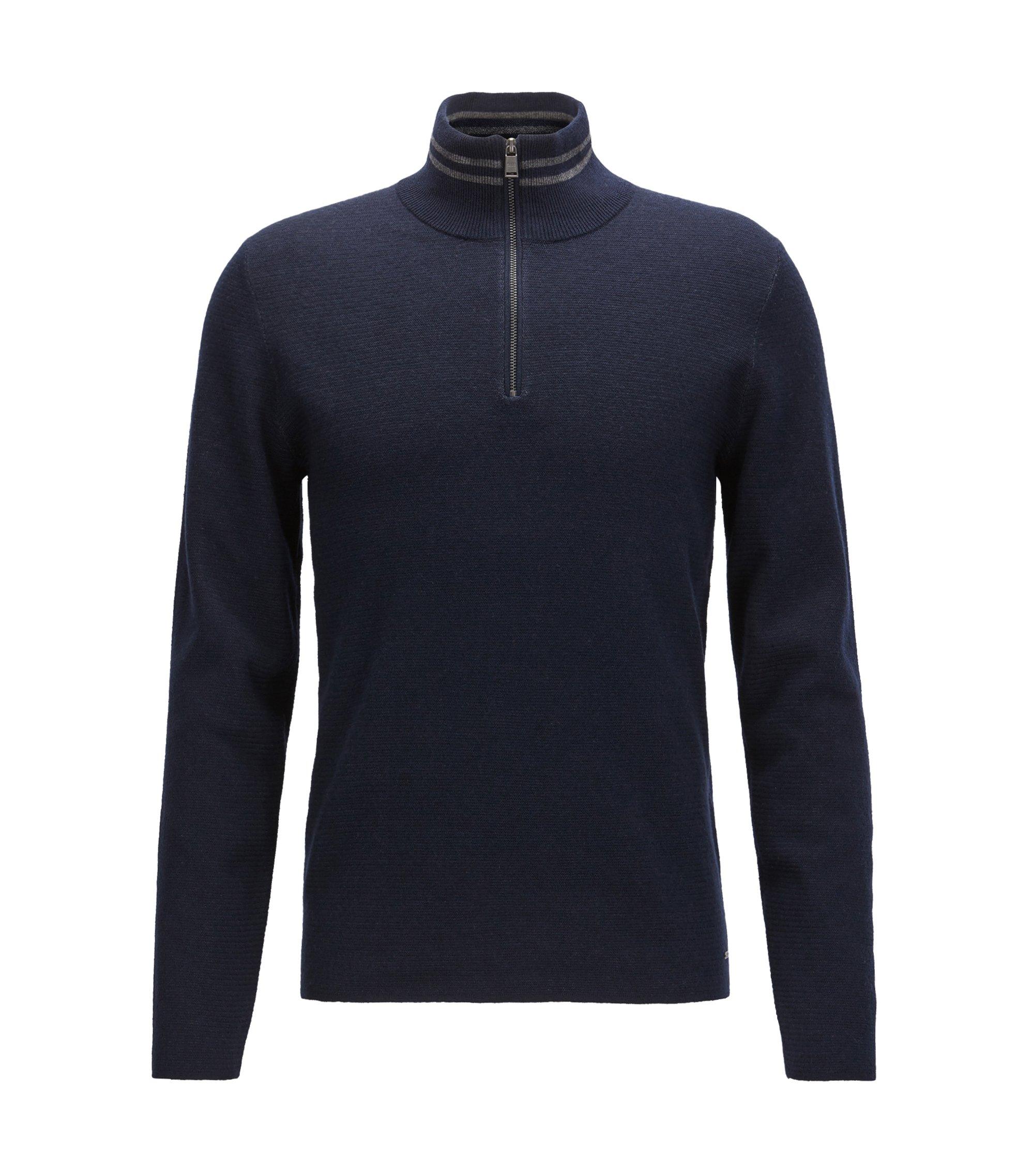 Pull structuré à col zippé en mélange coton et laine, Bleu foncé