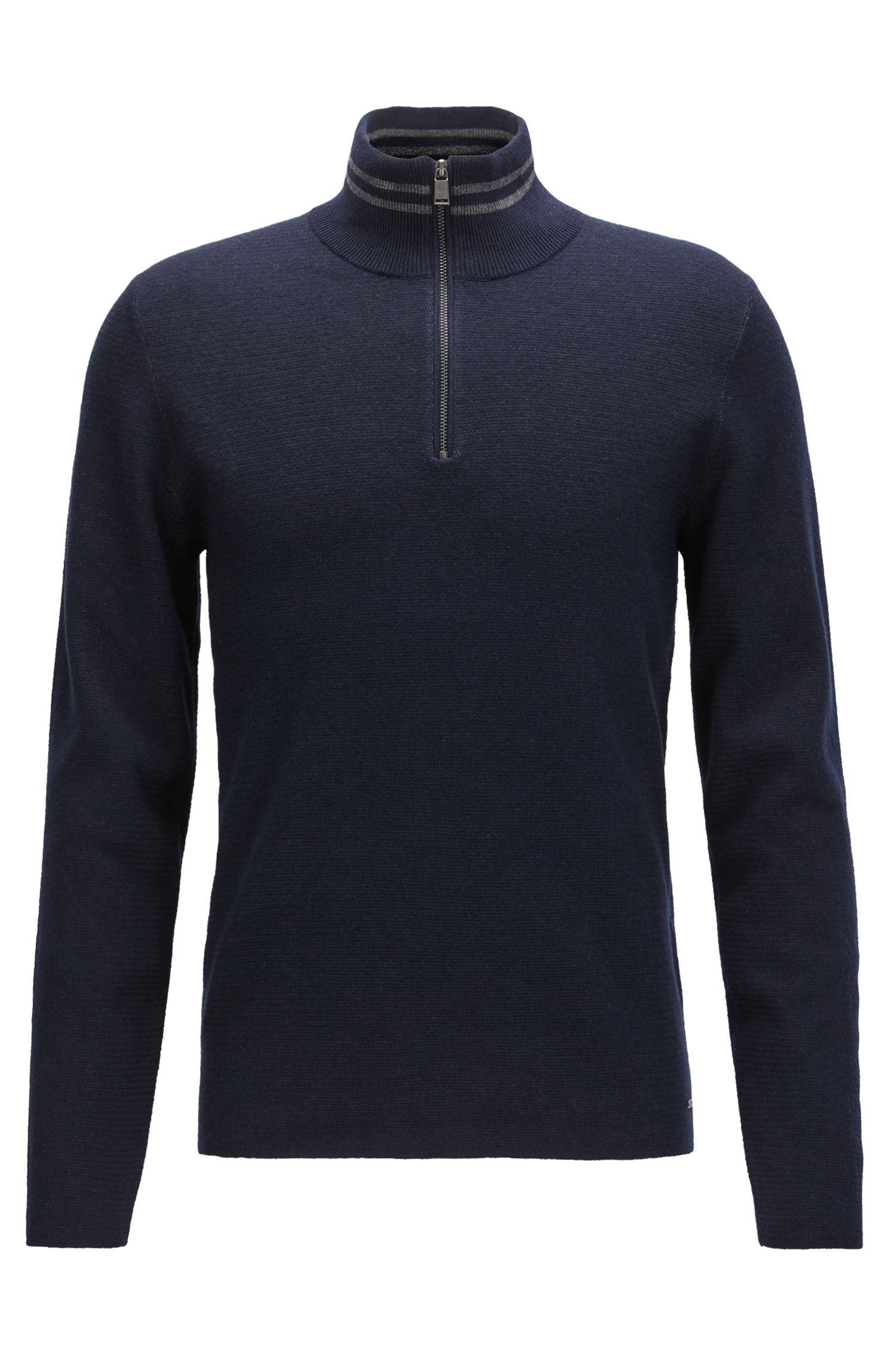 Zip-neck sweater in a structured wool-cotton blend