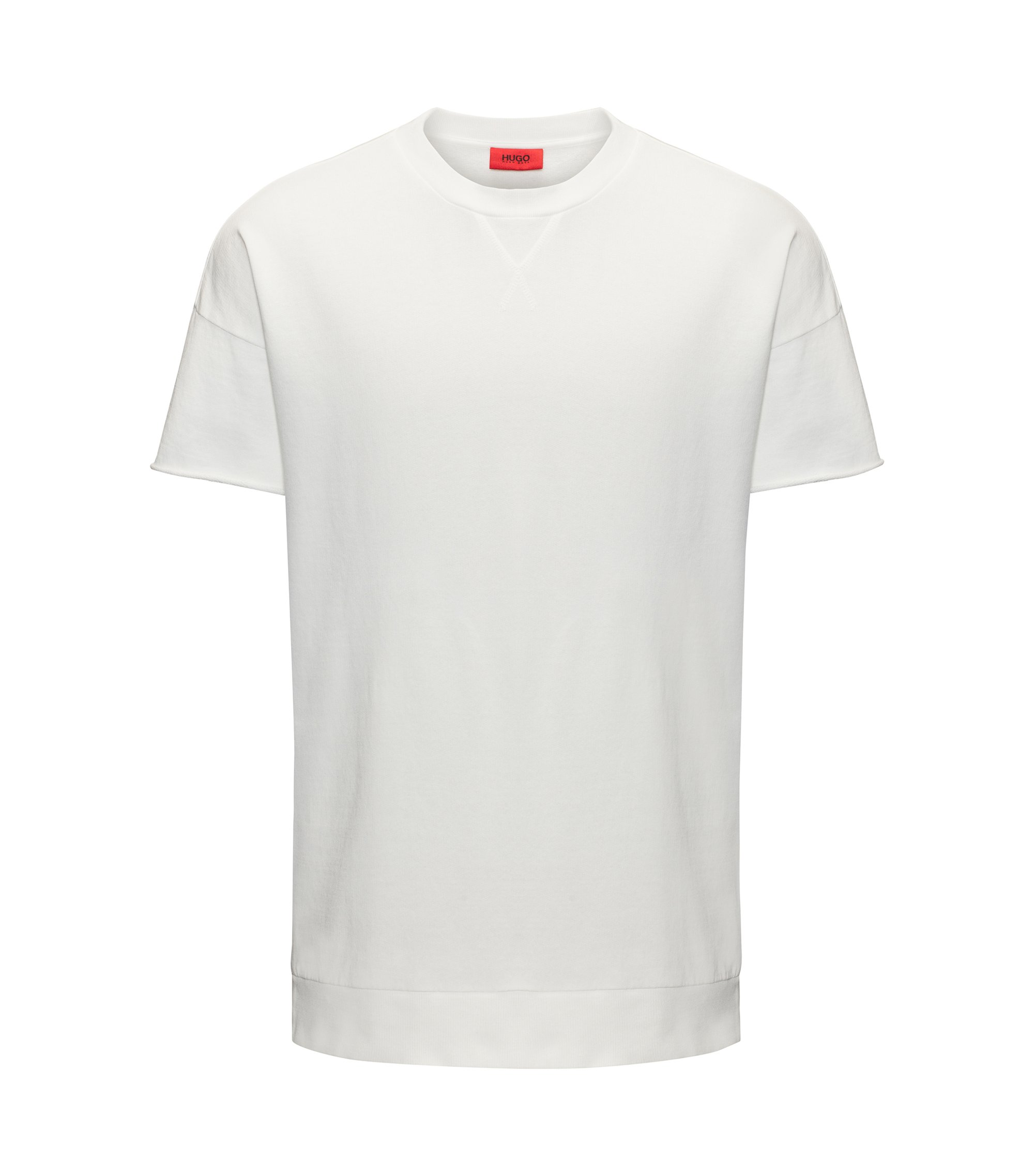 Oversized-fit T-shirt van garment-dyed badstof, Naturel