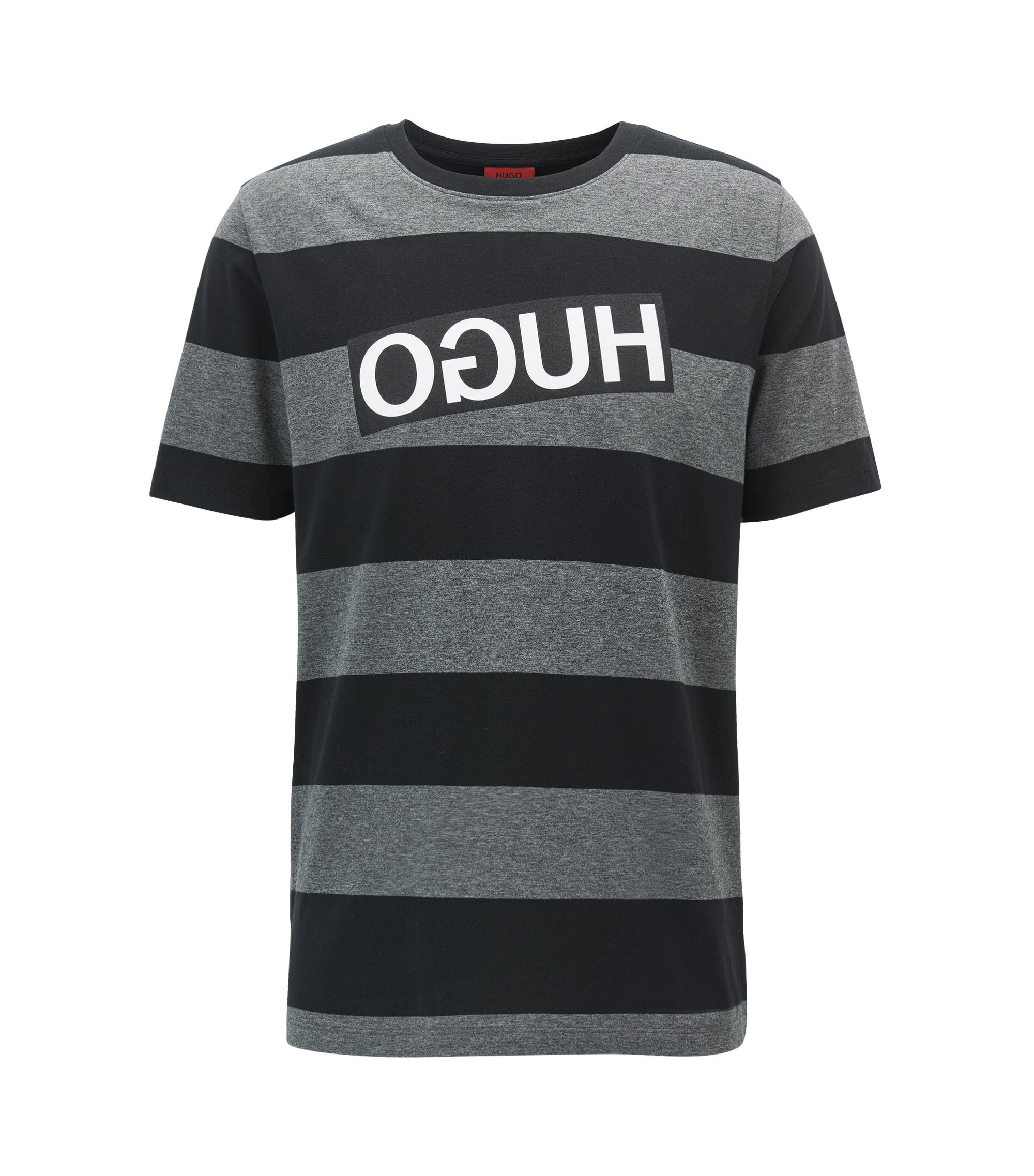 Relaxed-fit striped pima cotton T-shirt with reverse logo, Black