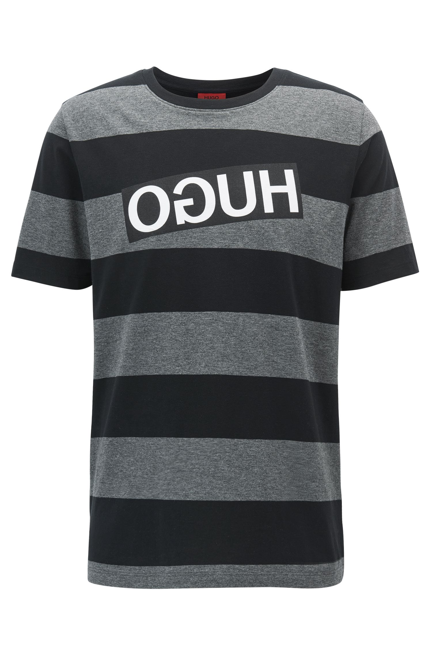 Relaxed-fit striped pima cotton T-shirt with reverse logo