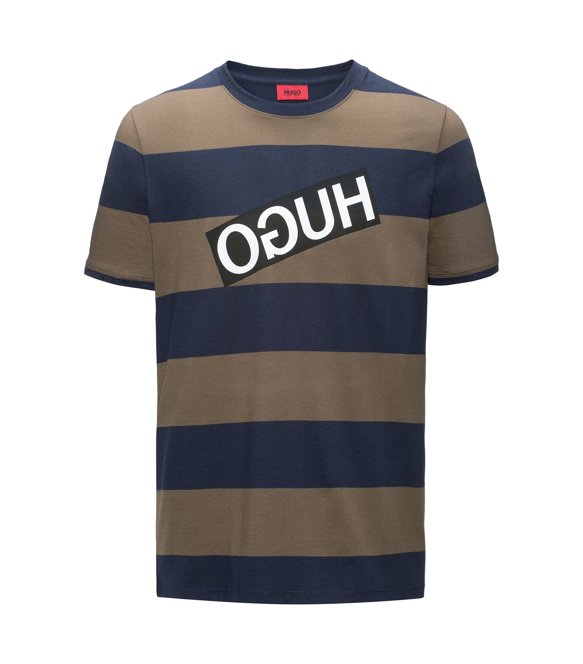 Relaxed-fit striped pima cotton T-shirt with reverse logo, Dark Blue