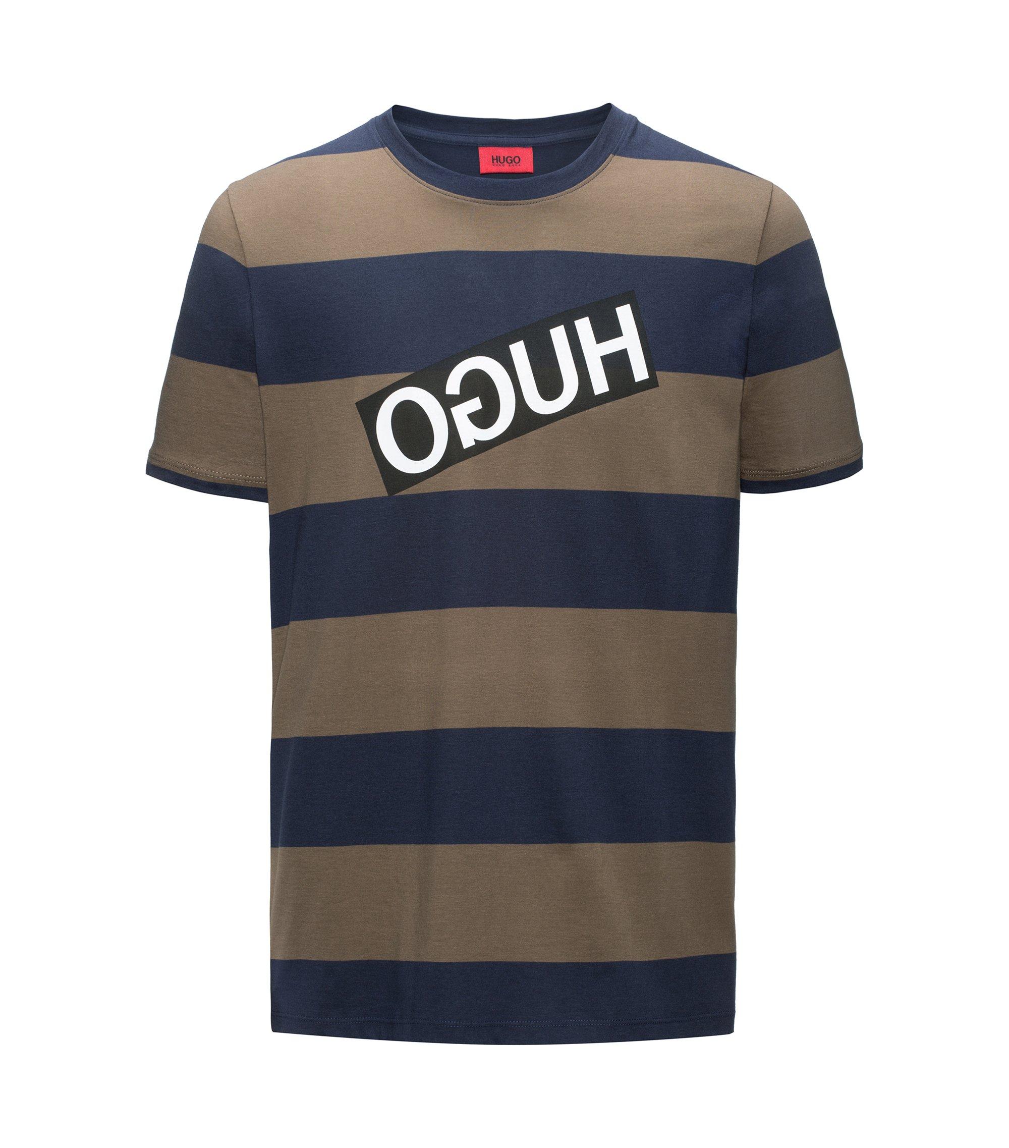 Camiseta relaxed fit a rayas en algodón Pima con logo invertido, Azul oscuro