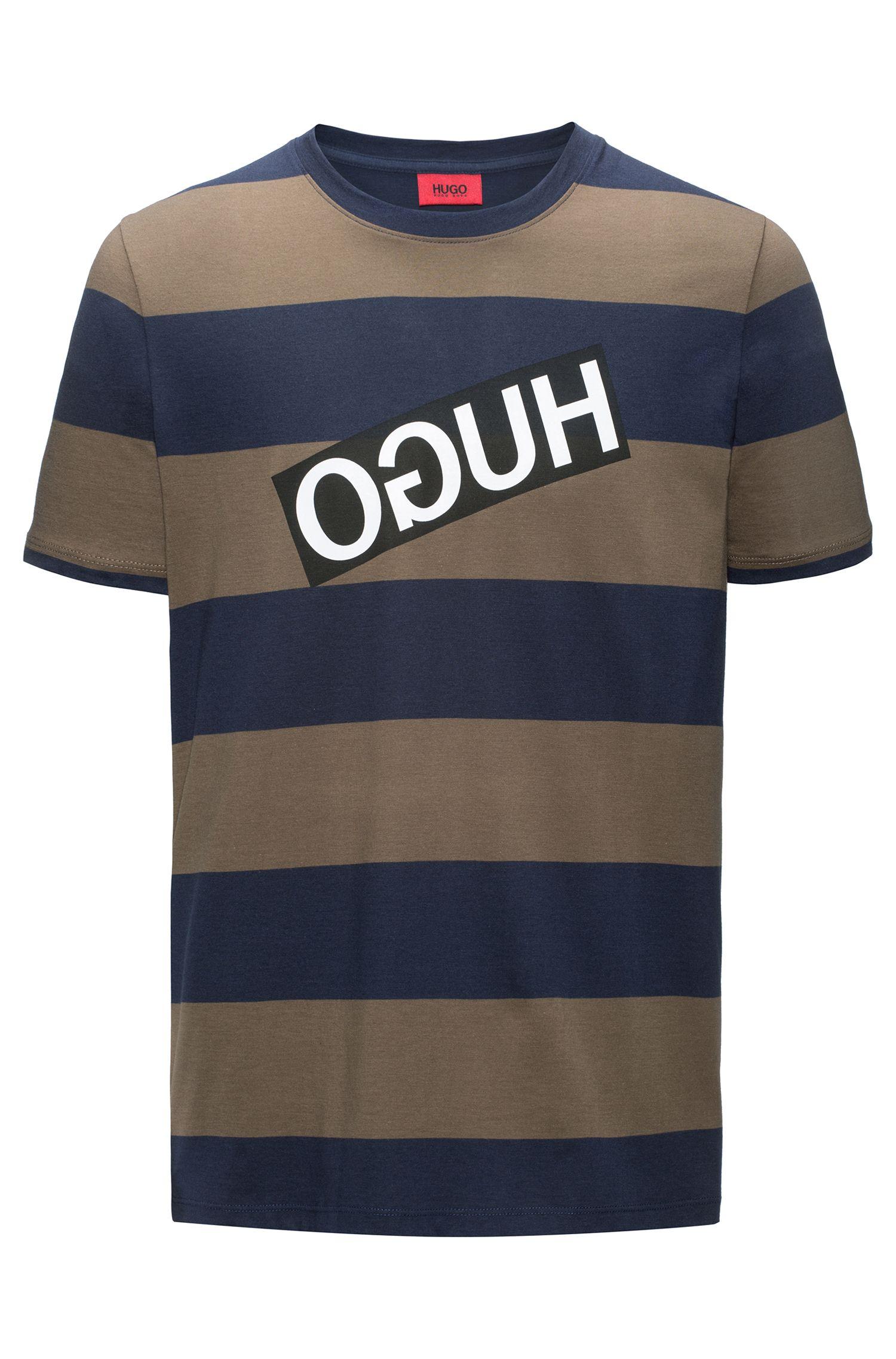 Relaxed-fit T-shirt van gestreepte pimakatoen met gespiegeld logo