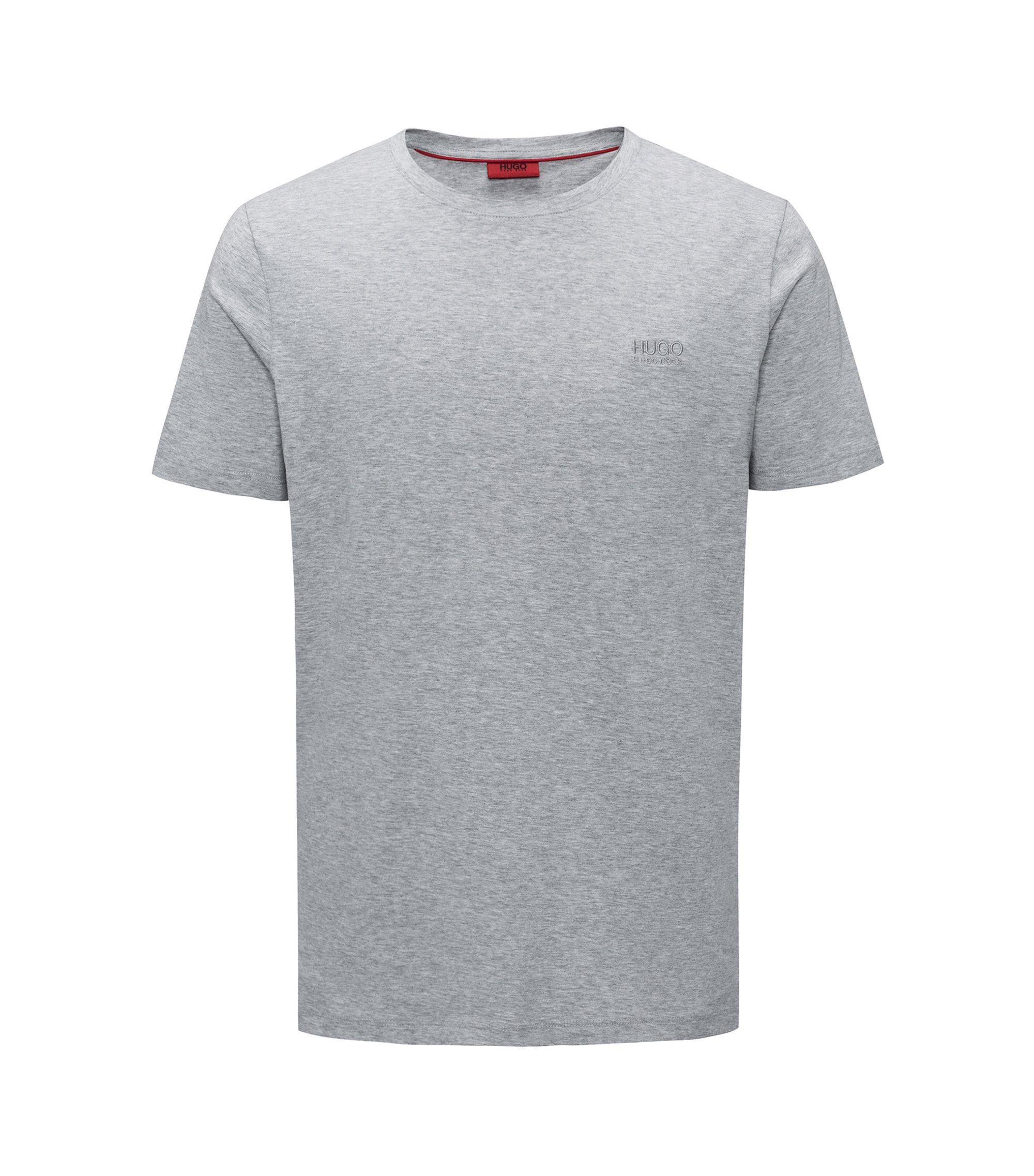 Camiseta regular fit con logo en algodón suave, Gris oscuro