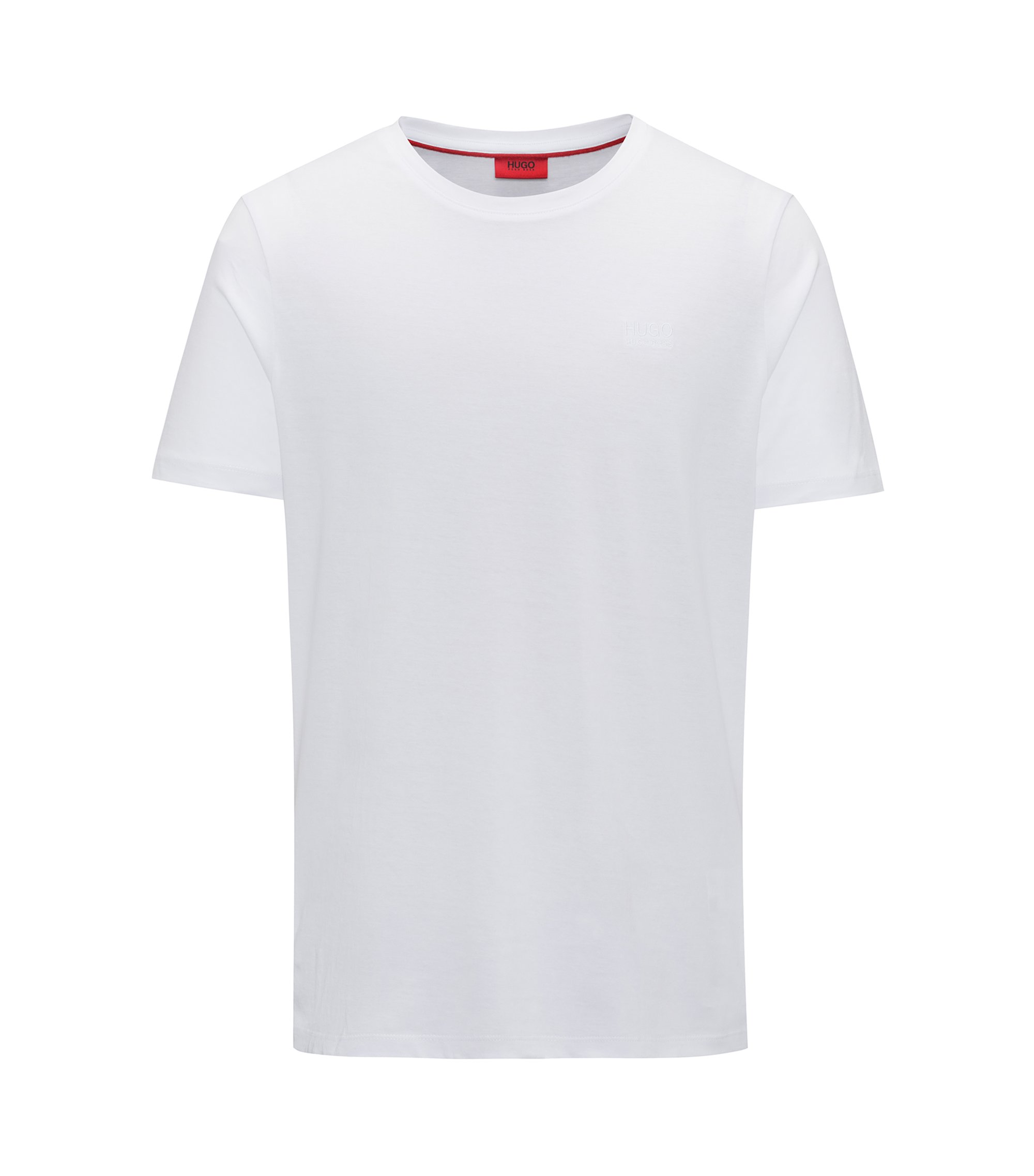 T-shirt regular fit in morbido cotone con logo, Bianco