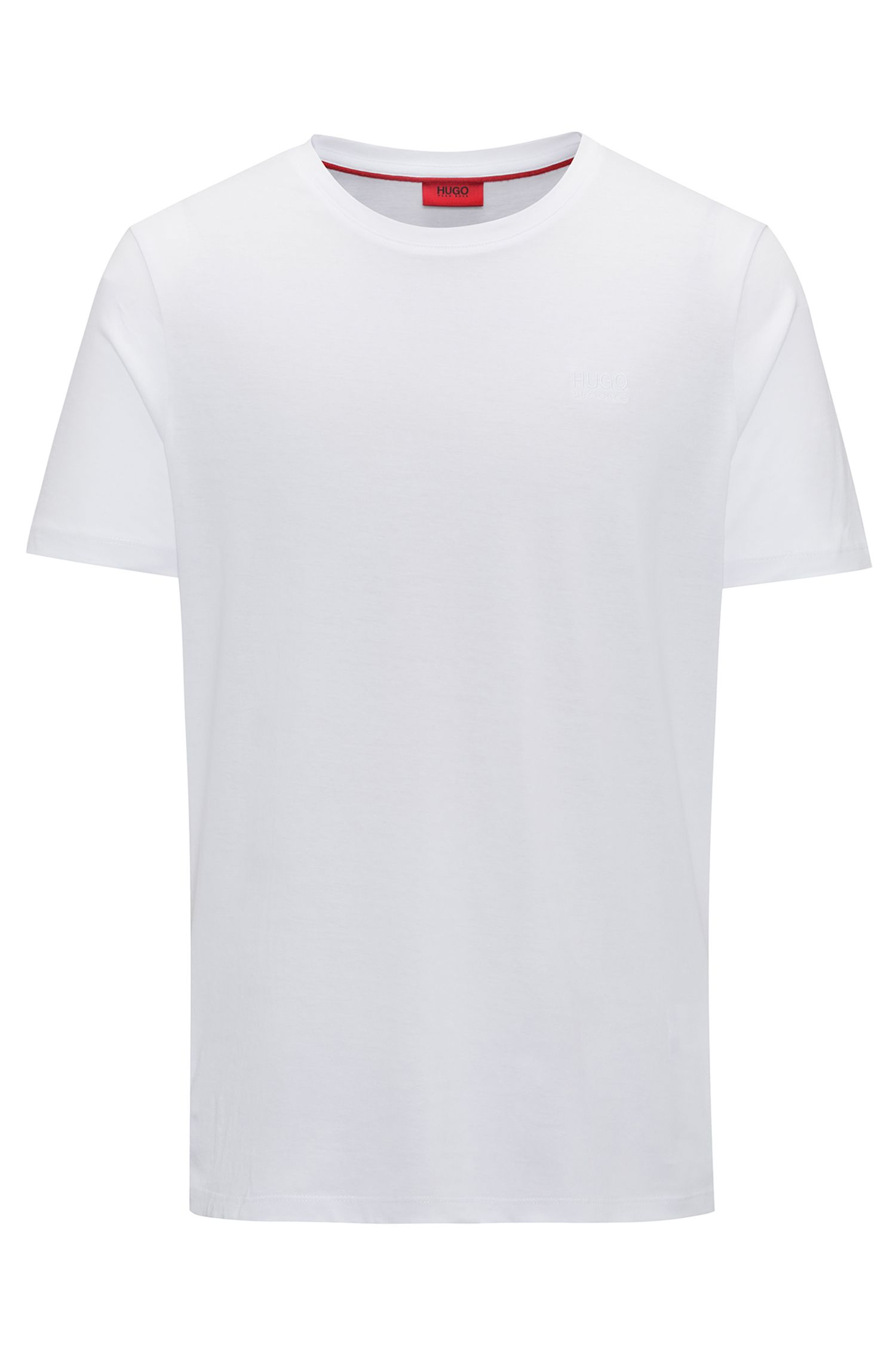 Camiseta regular fit con logo en algodón suave, Blanco