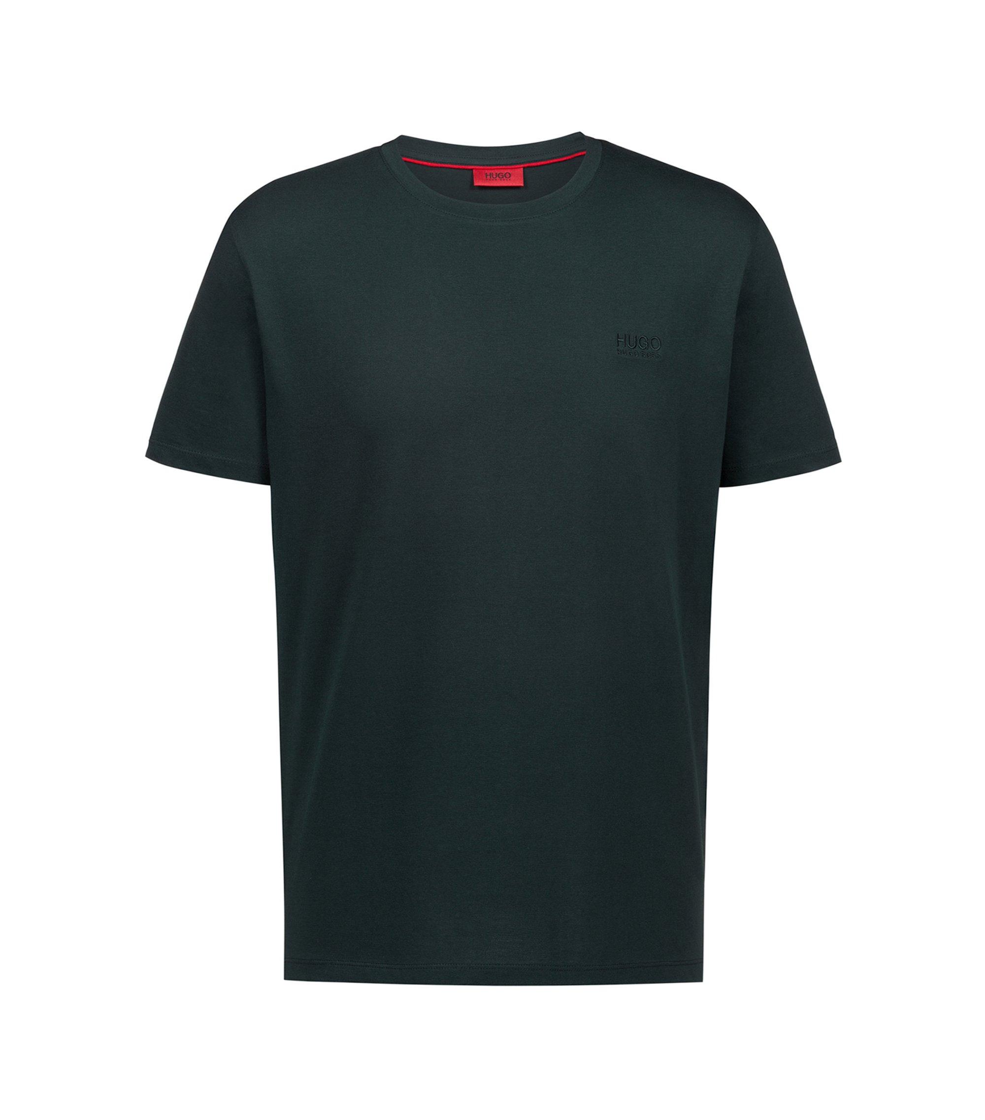 Regular-Fit T-Shirt aus weicher Baumwolle mit Logo, Dunkelgrün