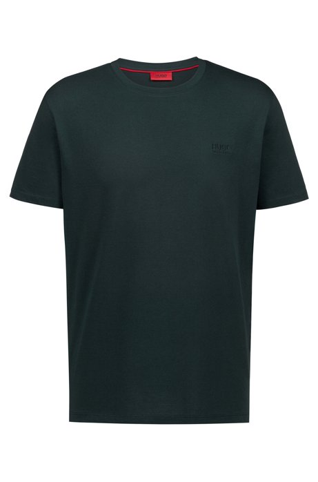 T-shirt regular fit in morbido cotone con logo, Verde scuro