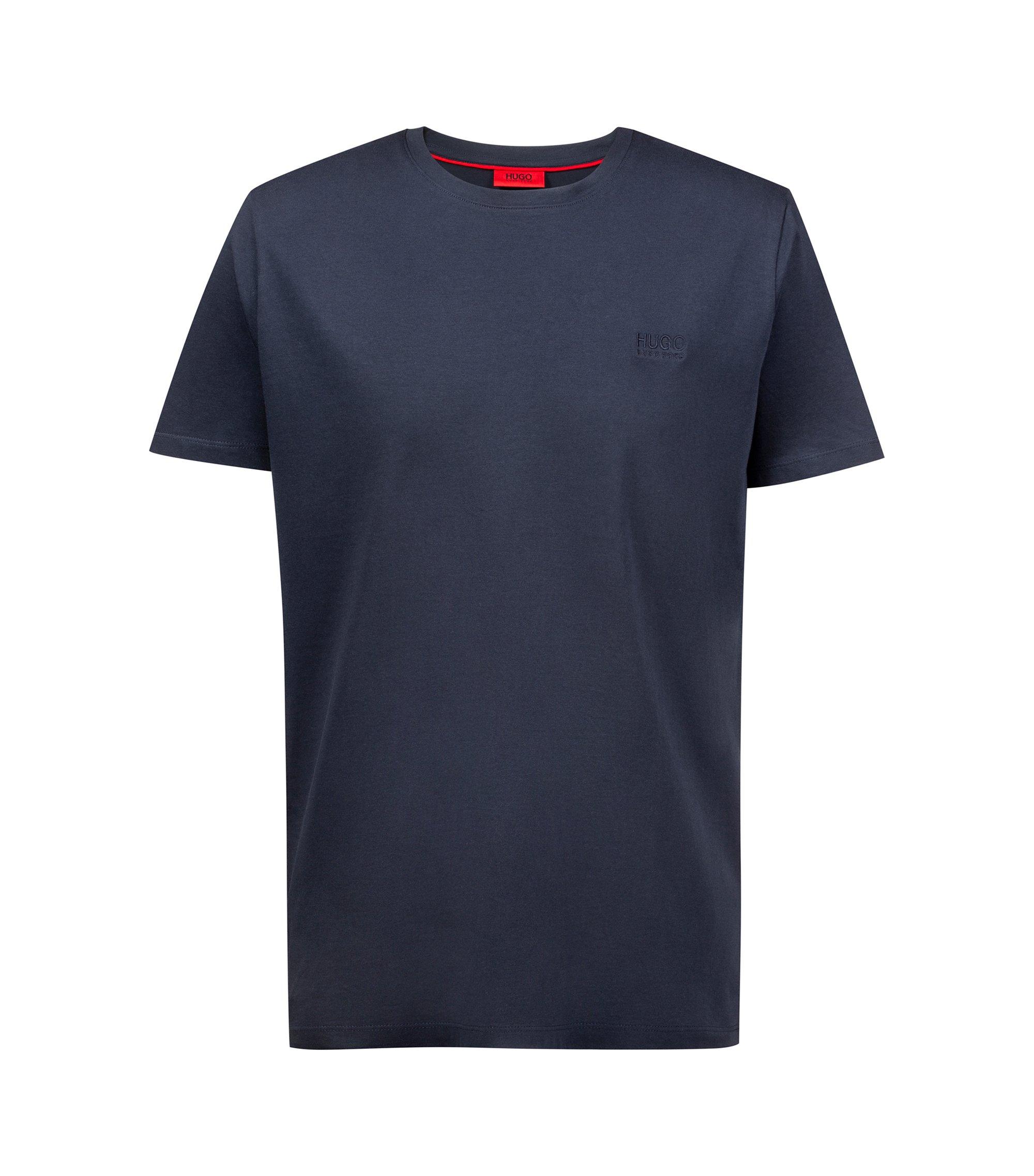 Regular-fit T-shirt van zachte katoen met logo, Donkerblauw