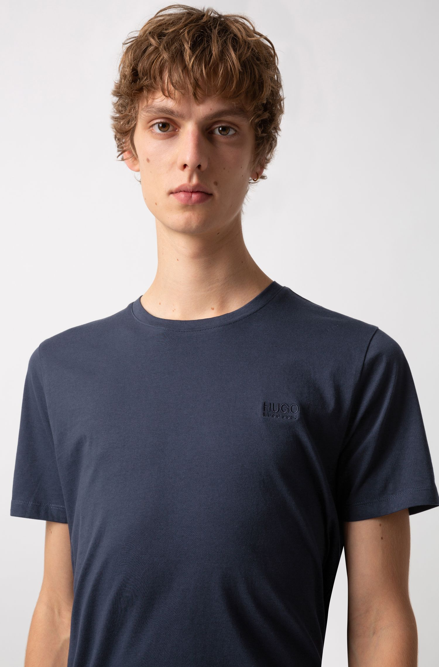 Regular-fit logo T-shirt in soft cotton, Dark Blue