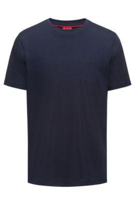 T-shirt Regular Fit en coton doux avec logo, Bleu foncé