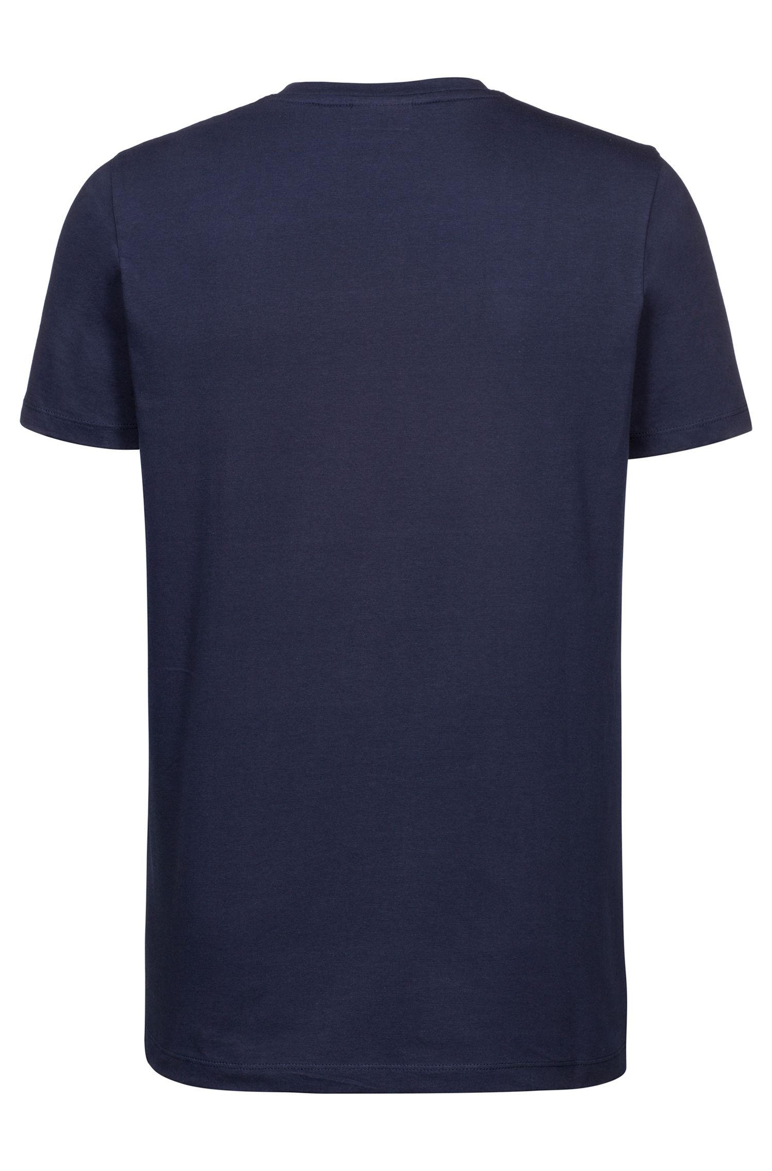 Regular-fit logo T-shirt in soft cotton, Dark Blue