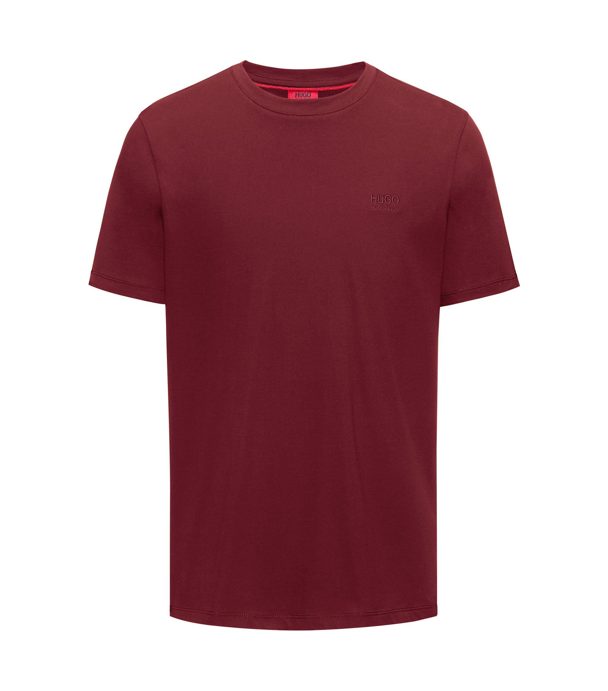 T-shirt regular fit in morbido cotone con logo, Rosso scuro