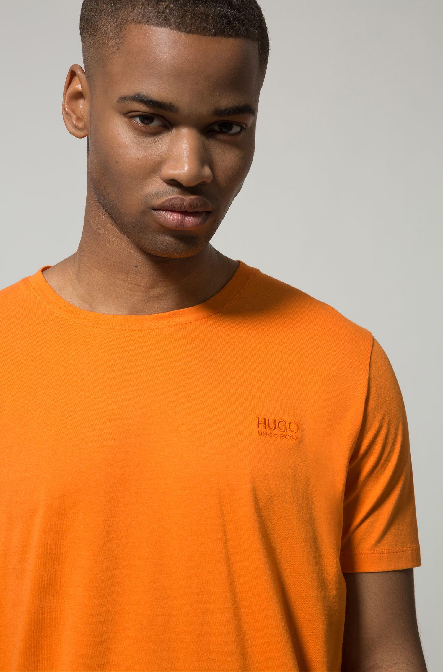 Regular-fit T-shirt van zachte katoen met logo, Oranje