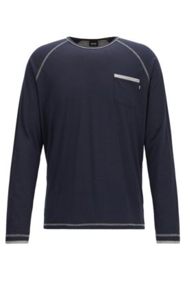 T-shirt del pigiama regular fit in misto cotone, Blu scuro