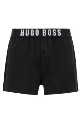 Pyjama shorts in stretch-cotton jersey, Black