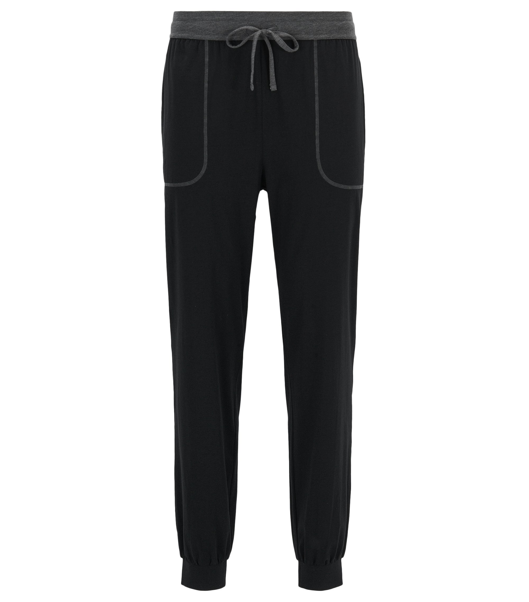 Cuffed hem pyjama bottoms in stretch cotton-blend jersey, Black