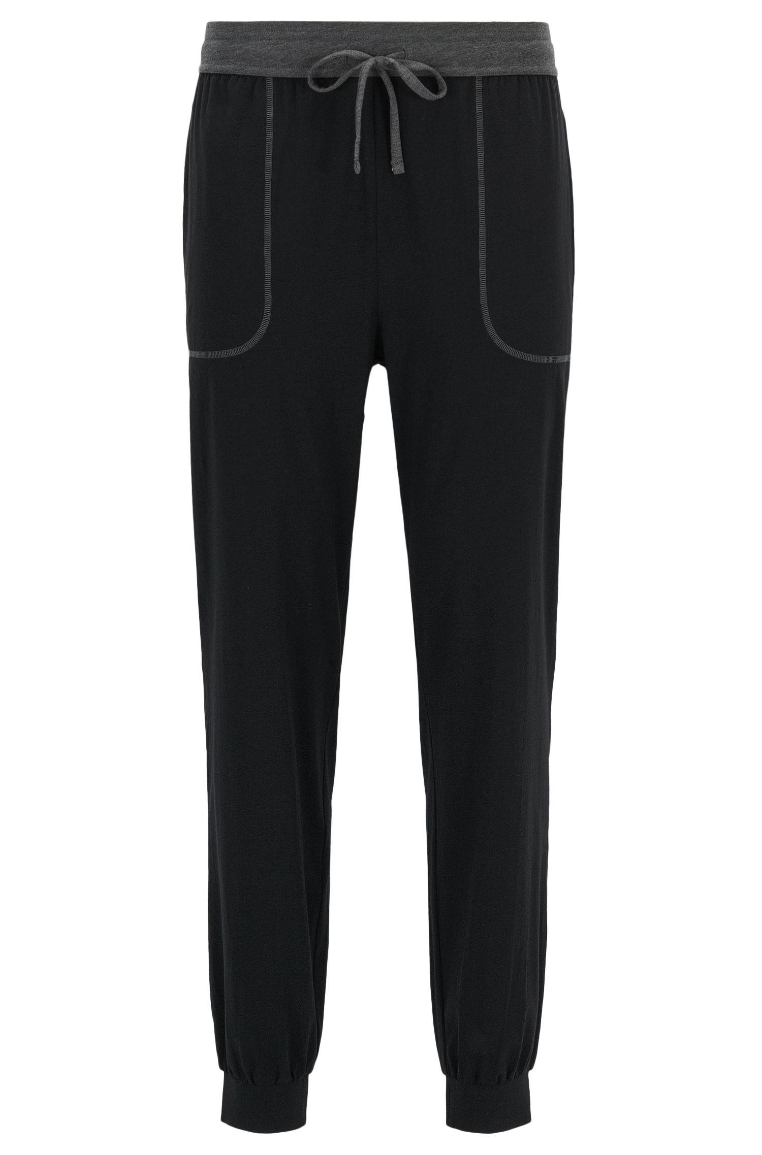 Cuffed hem pyjama bottoms in stretch cotton-blend jersey