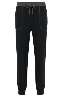 Cuffed hem pyjama bottoms in stretch cotton-blend jersey, Black