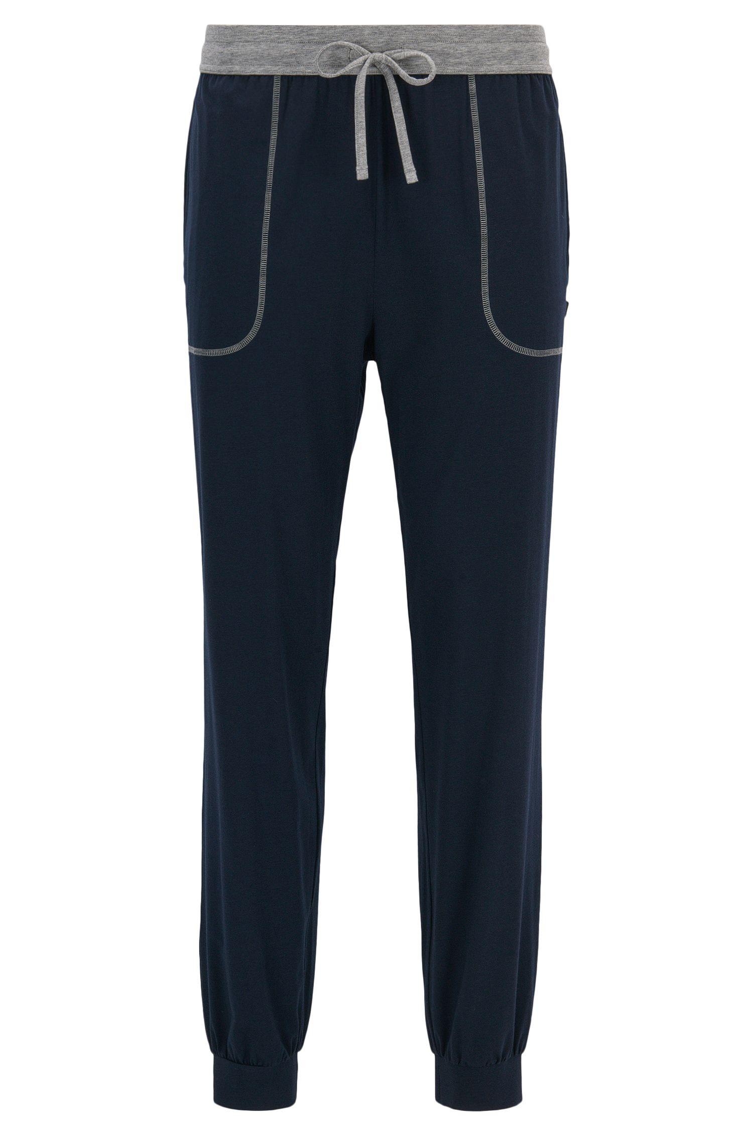 Pyjamabroek met boorden aan de pijpen, van stretchjersey van een katoenmix