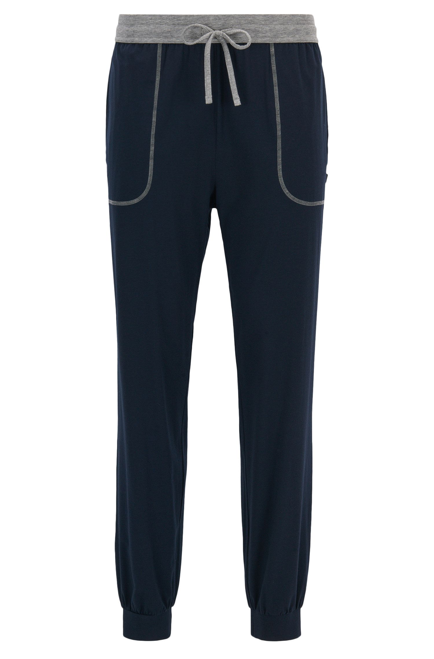 Cuffed hem pyjama bottoms in stretch cotton-blend jersey
