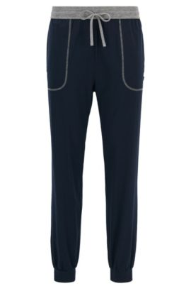 Cuffed hem pyjama bottoms in stretch cotton-blend jersey, Dark Blue