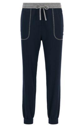 Pyjamabroek met boorden aan de pijpen, van stretchjersey van een katoenmix, Donkerblauw