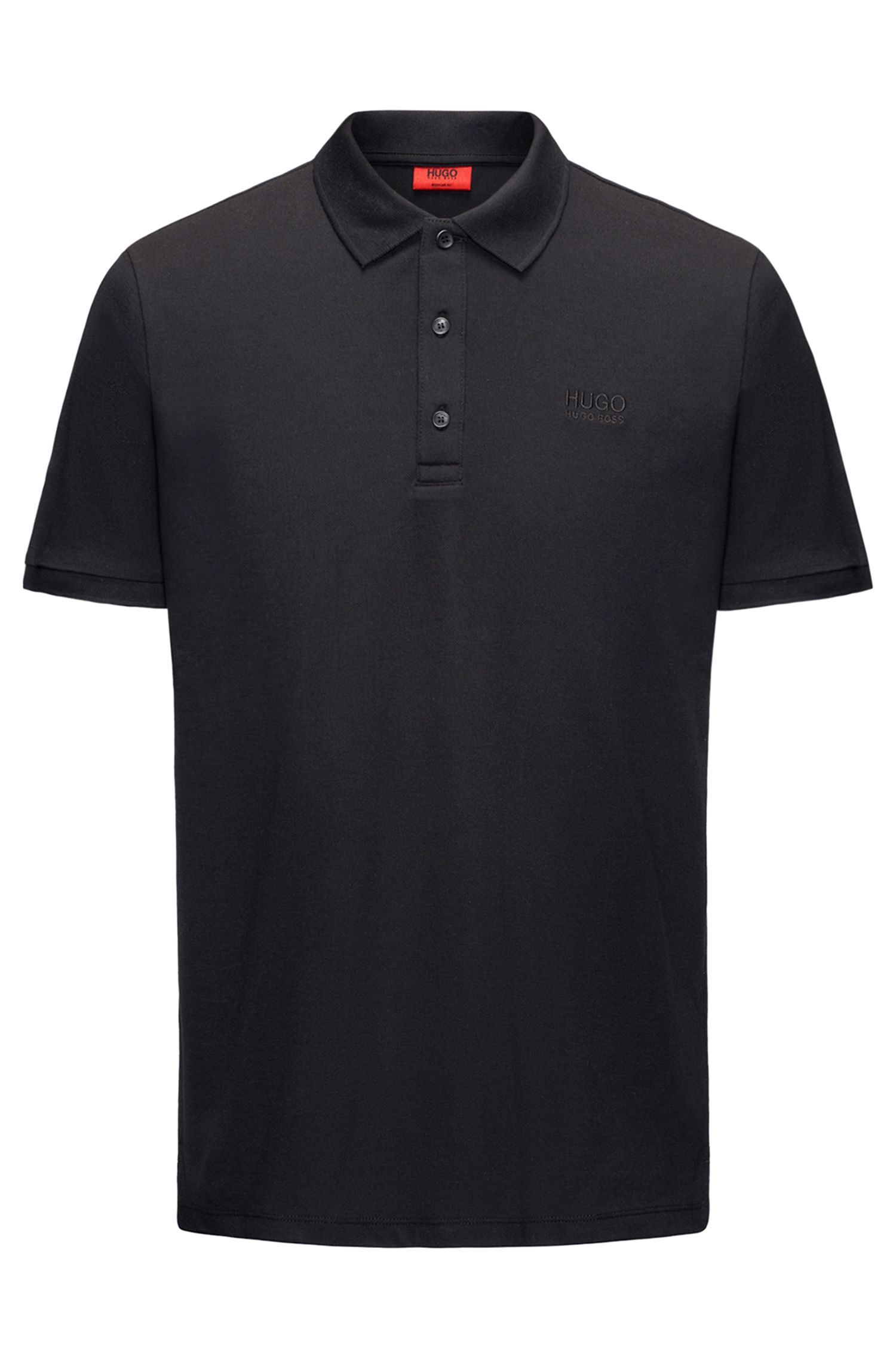Regular-Fit Poloshirt aus softer Baumwolle, Schwarz