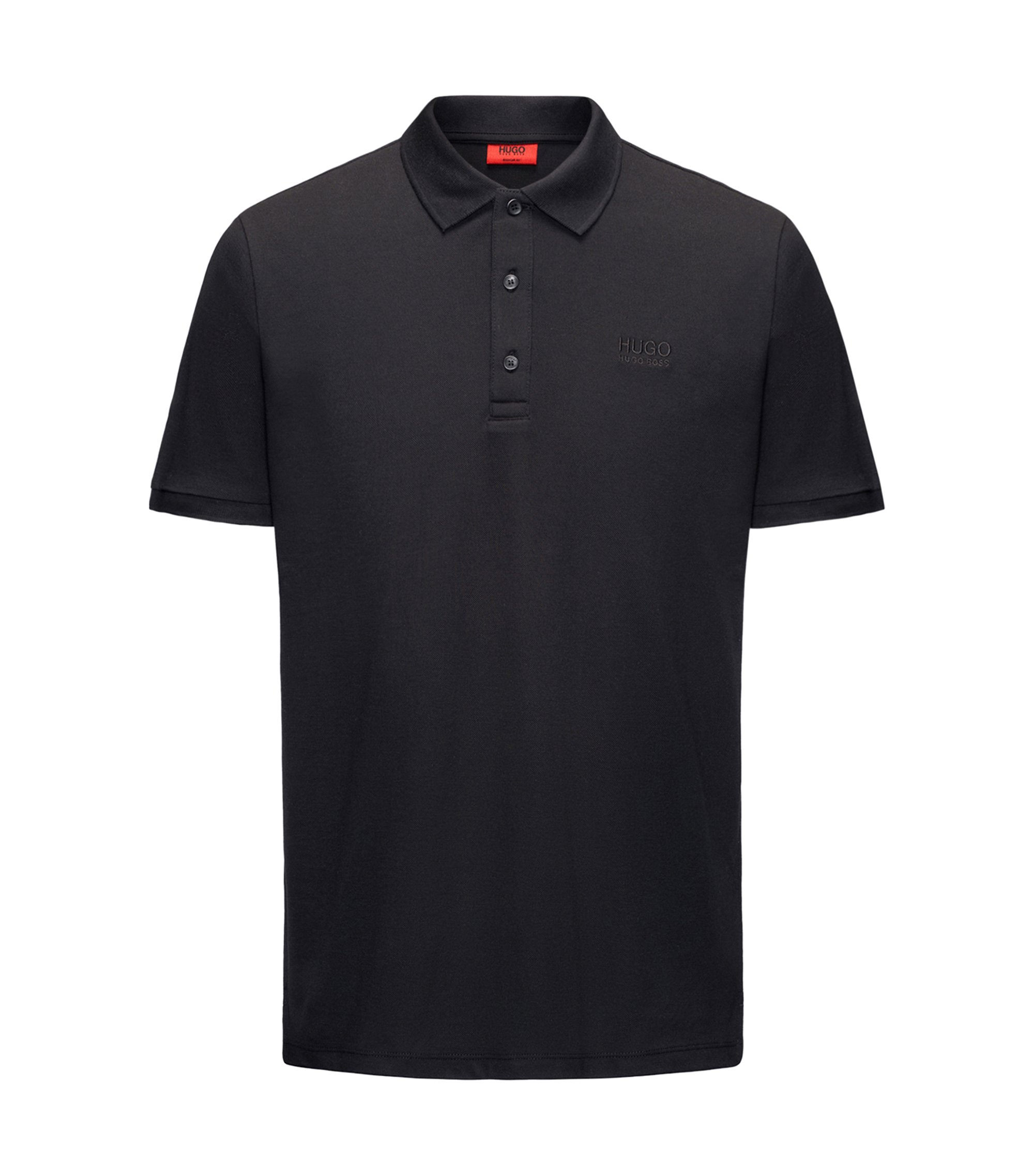 Polo Regular Fit en coton doux, Noir