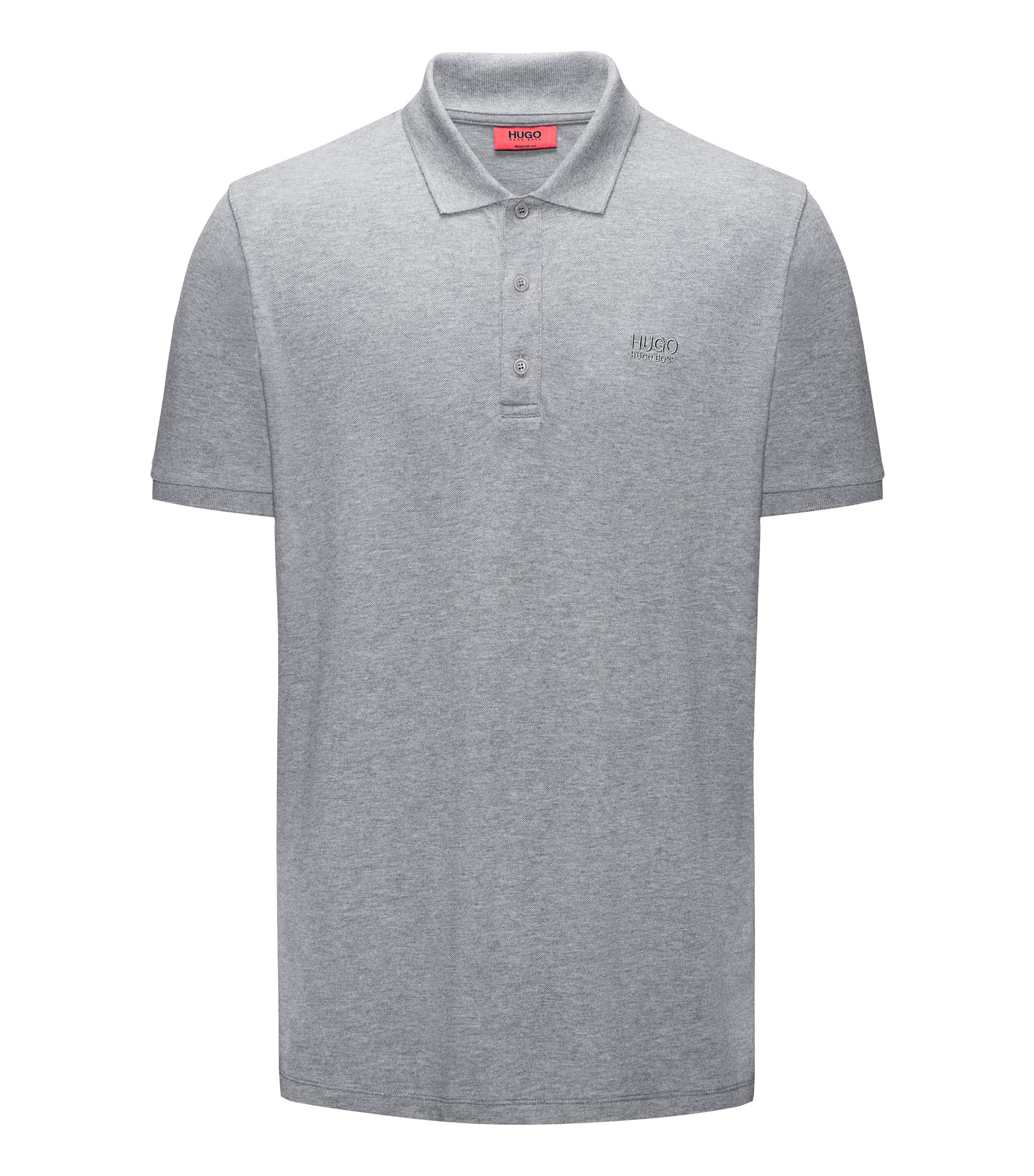 Regular-fit polo shirt in soft cotton, Grey