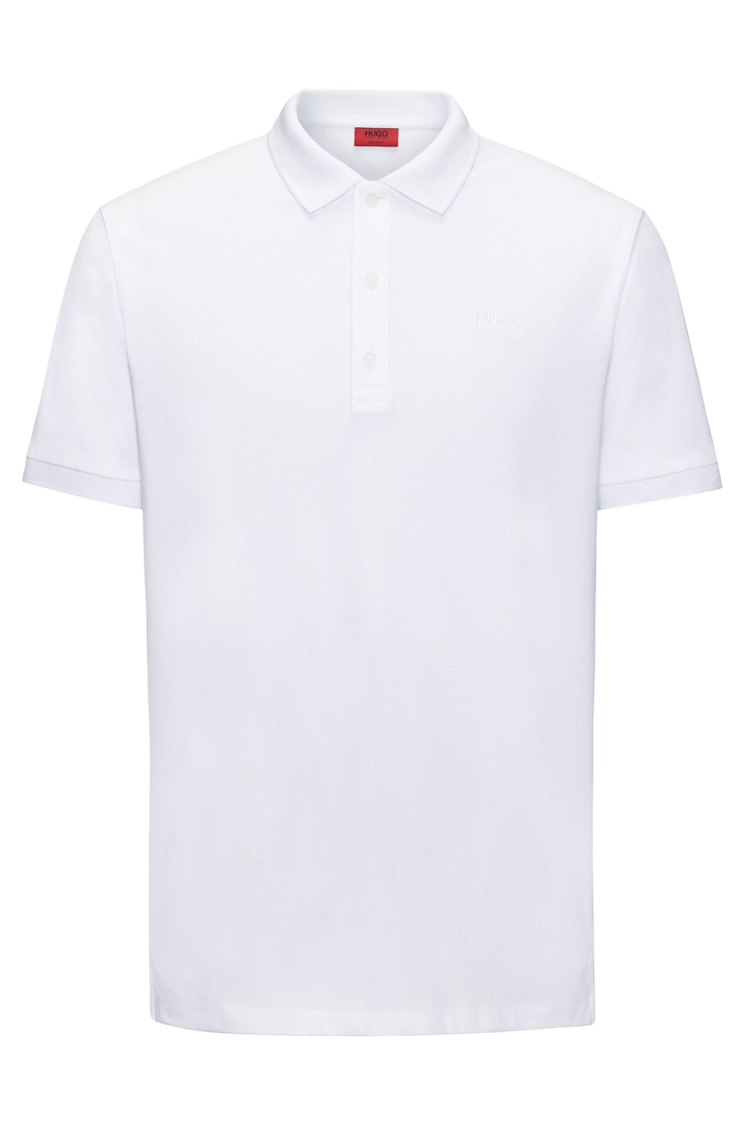 Regular-Fit Poloshirt aus softer Baumwolle, Weiß