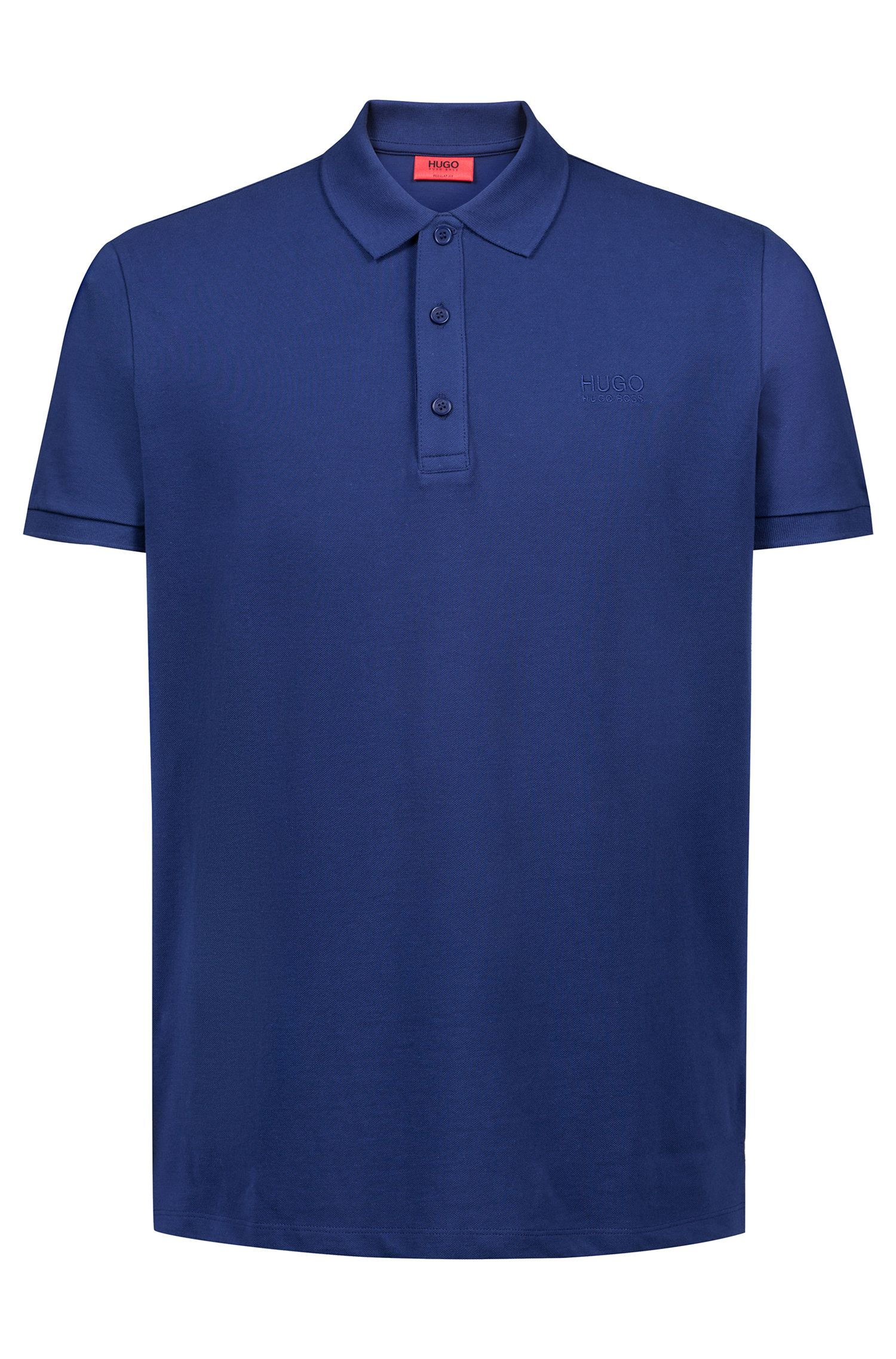 Regular-fit polo shirt in soft cotton, Dark Blue