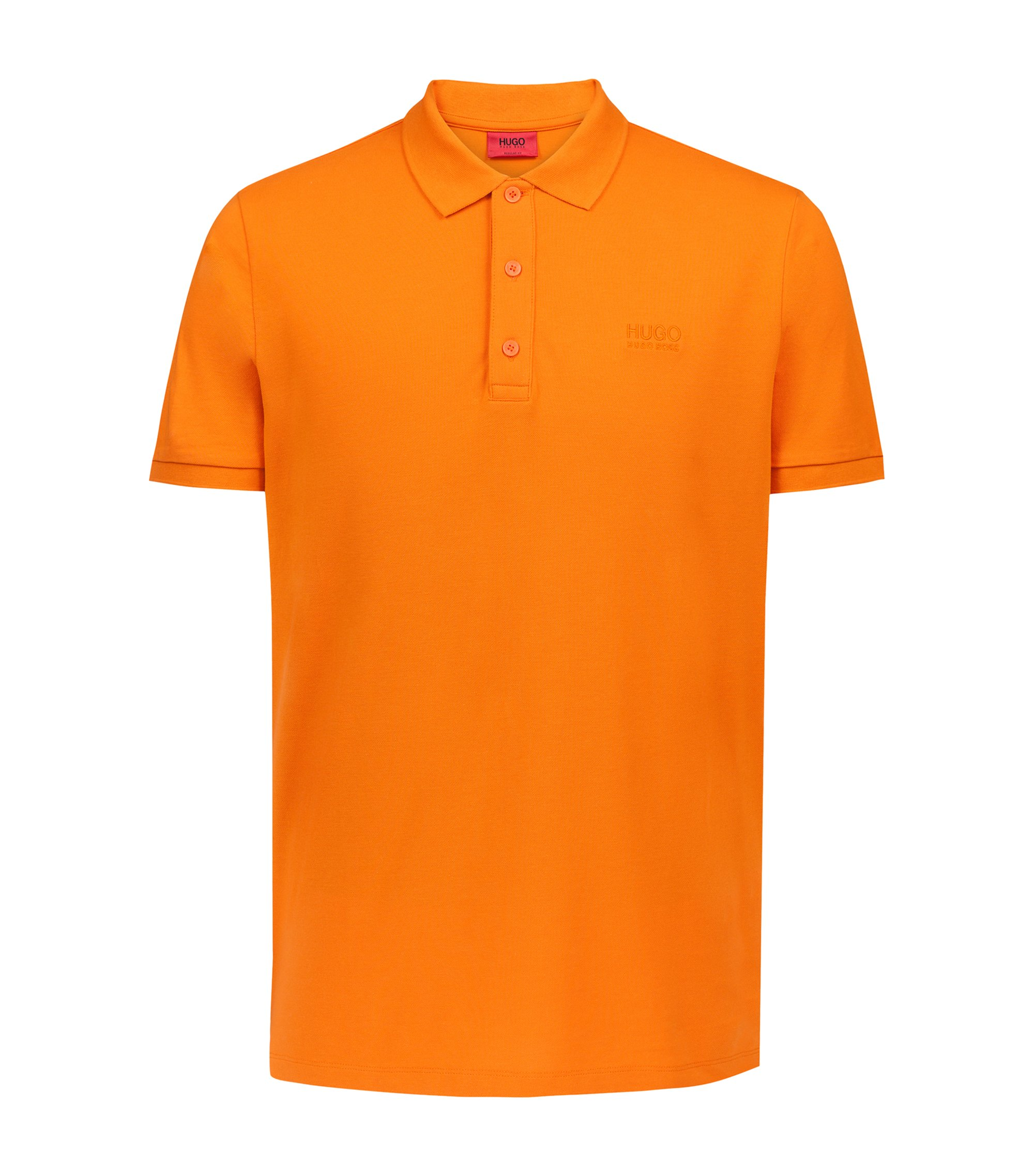 Regular-fit polo shirt in soft cotton, Orange